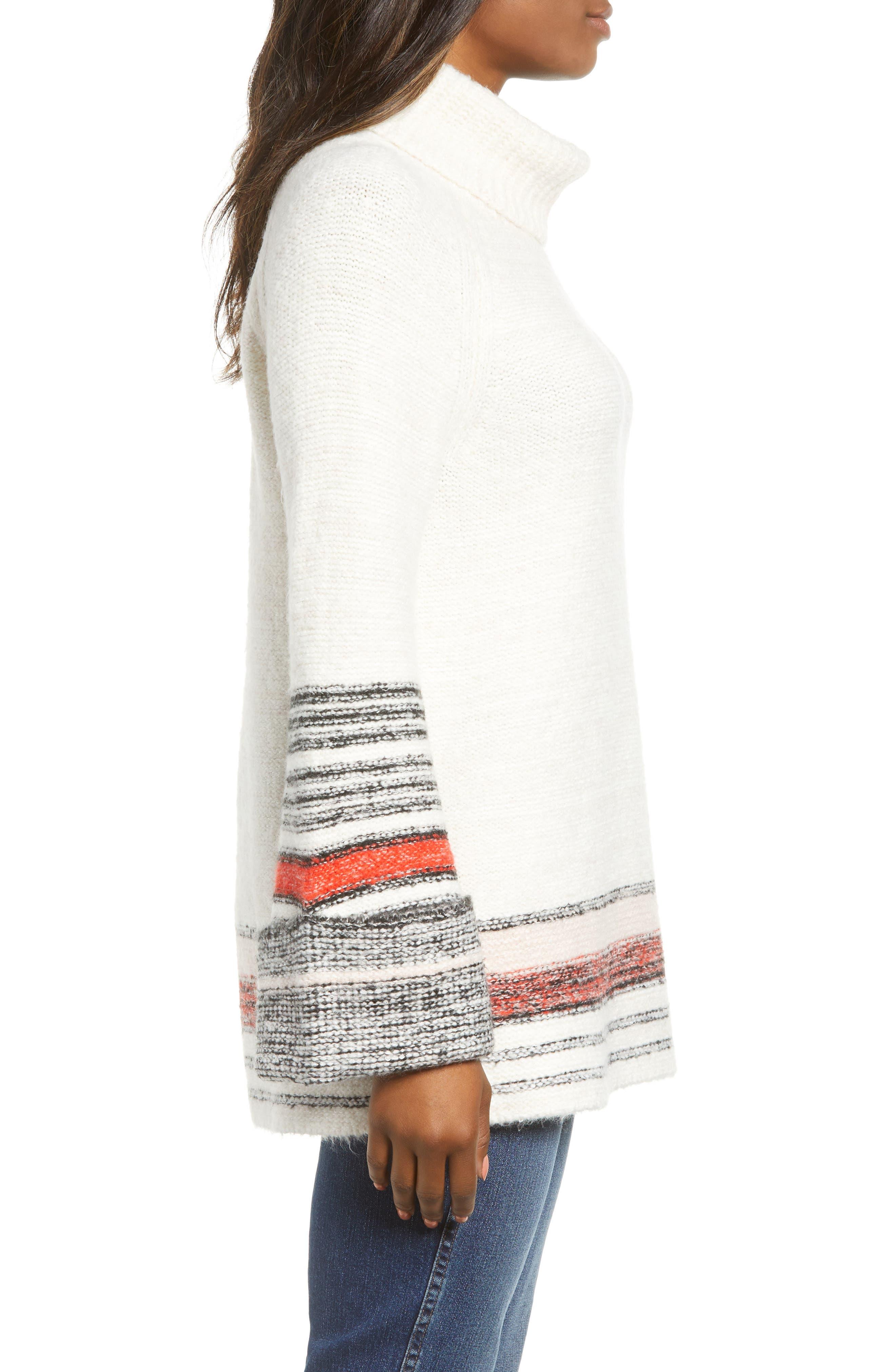 Border Stripe Sweater,                             Alternate thumbnail 3, color,                             IVORY COMBO