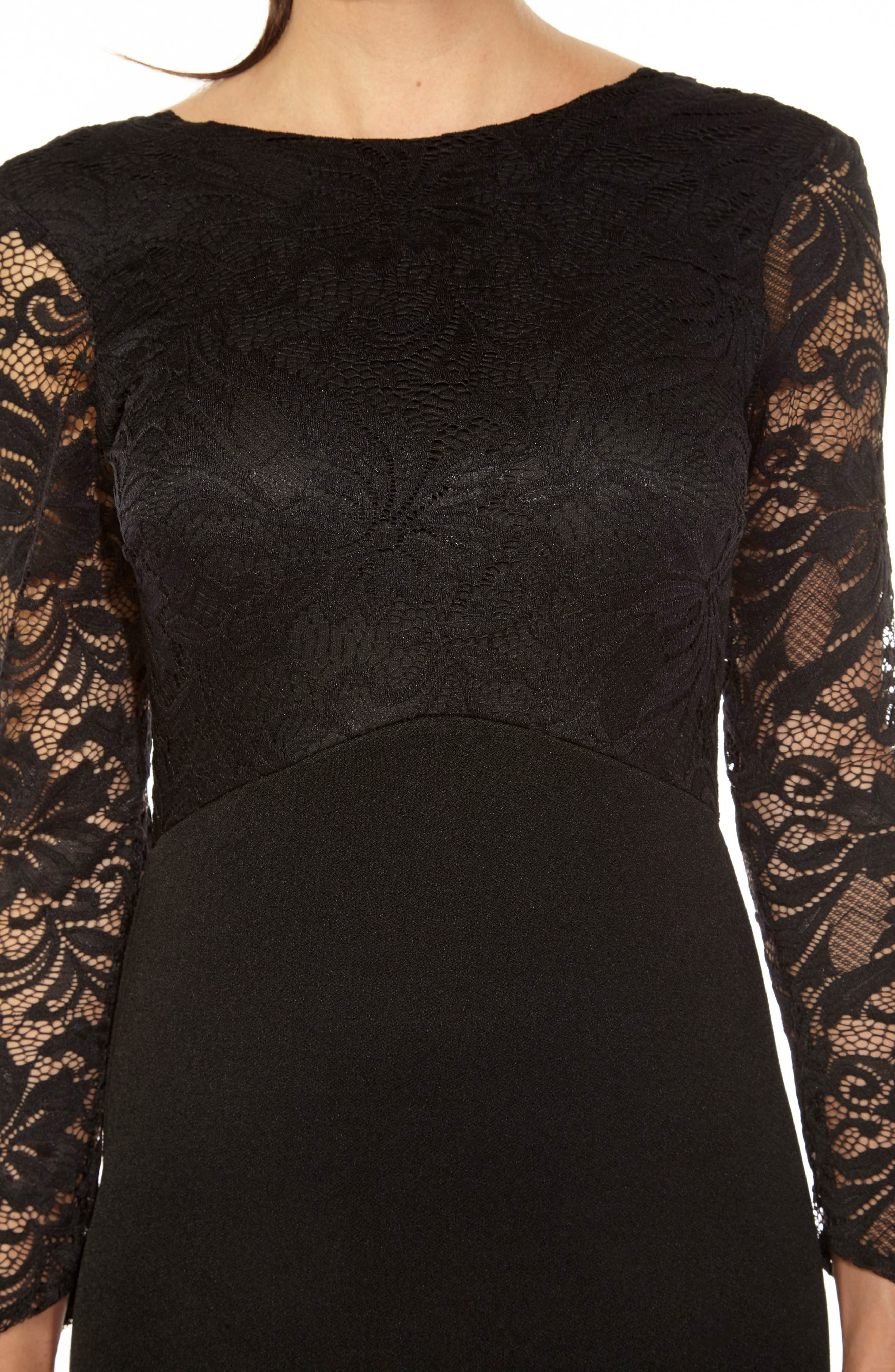 Seraphina Lace Gown,                             Alternate thumbnail 3, color,                             BLACK