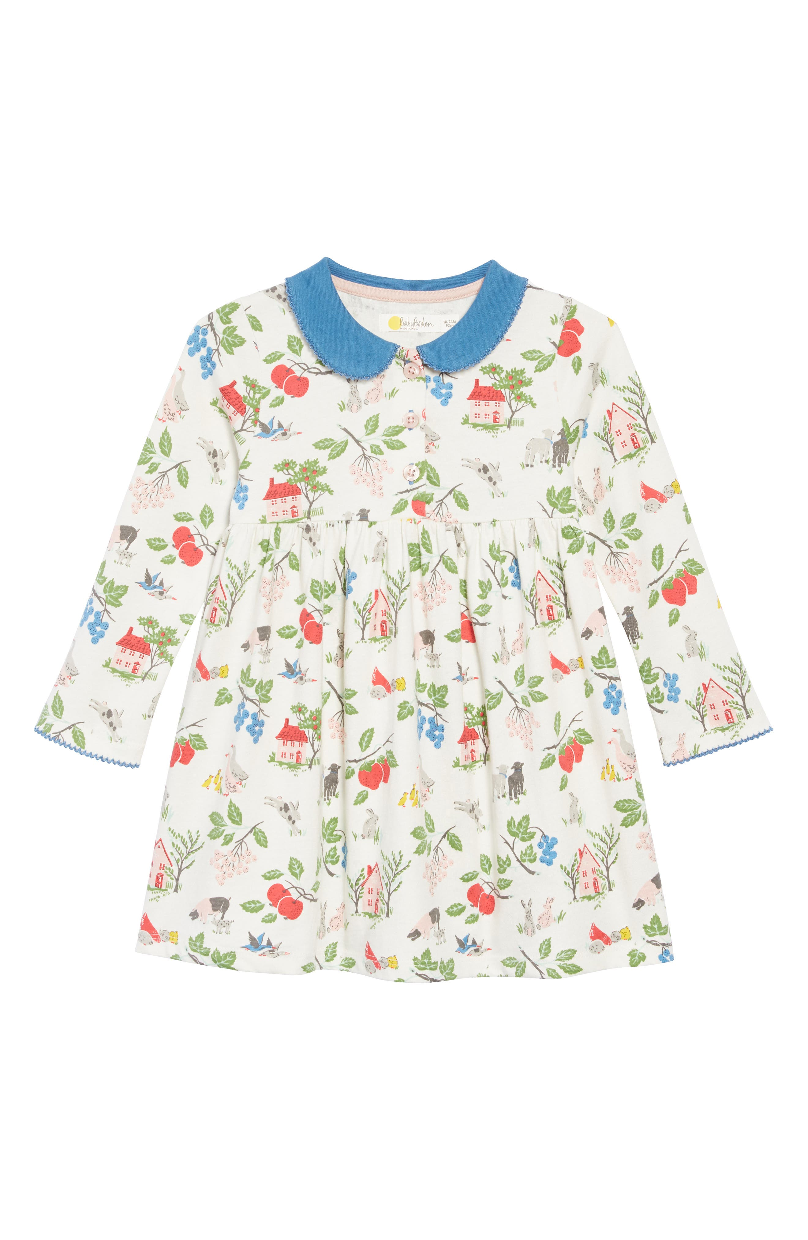 Pretty Collared Jersey Dress,                             Main thumbnail 1, color,                             FARMYARD  FRIENDS