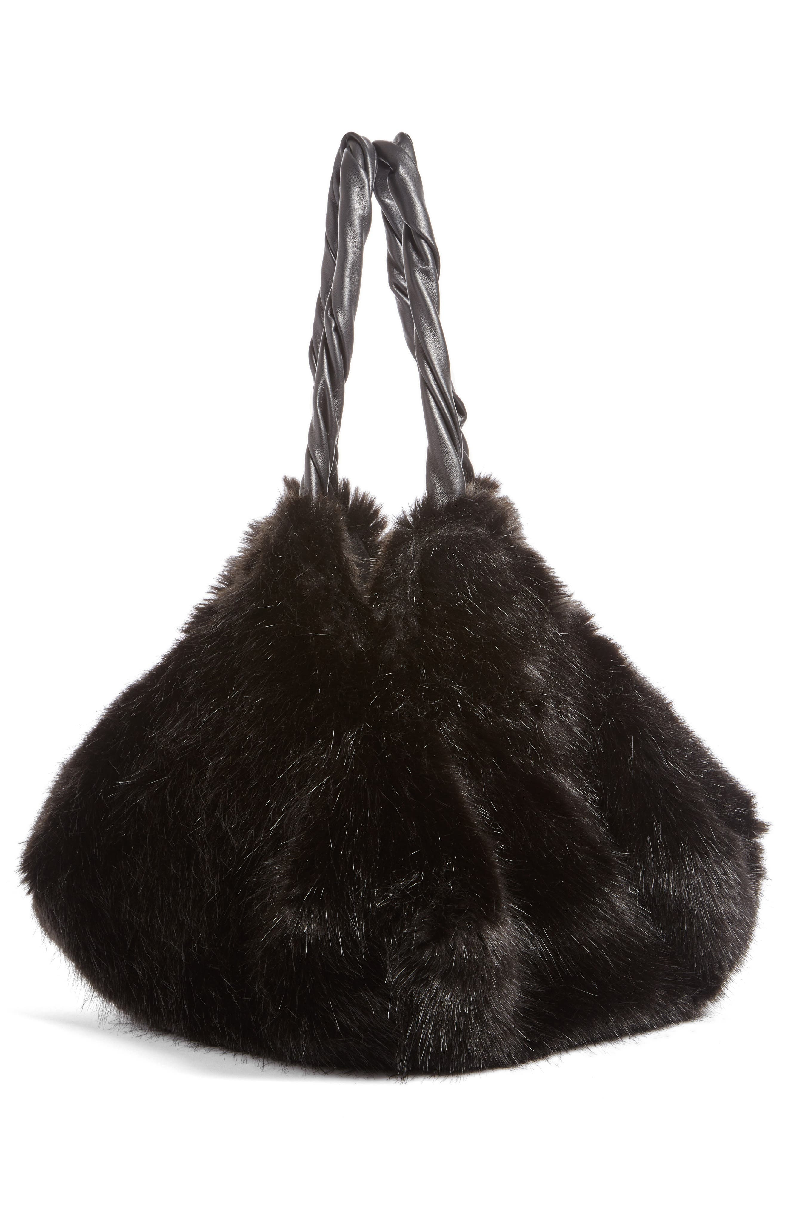 Pyramid Faux Fur Shoulder Bag,                             Alternate thumbnail 3, color,                             001