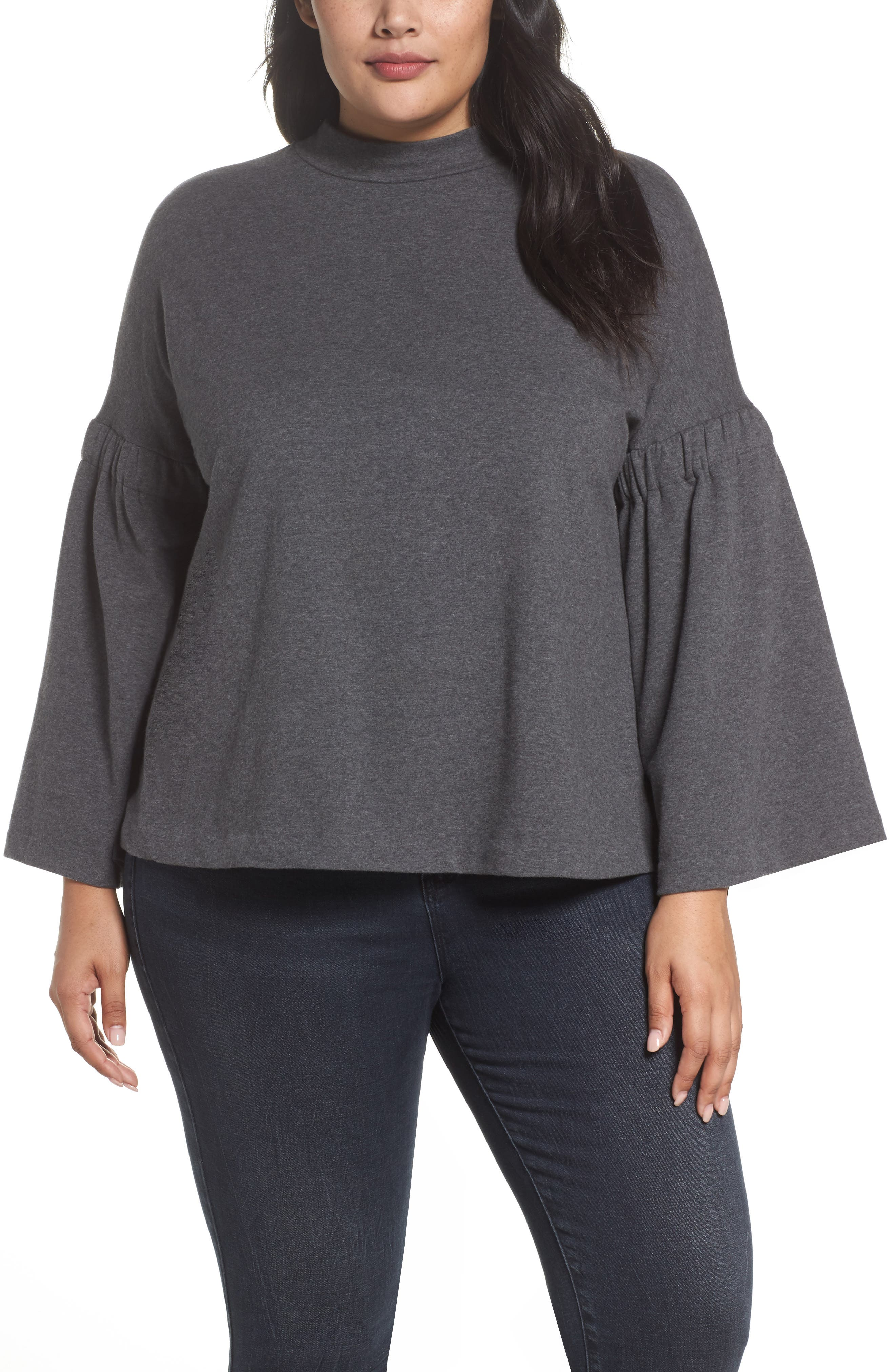 Bell Sleeve Top,                             Main thumbnail 1, color,                             MED HEATHER GREY