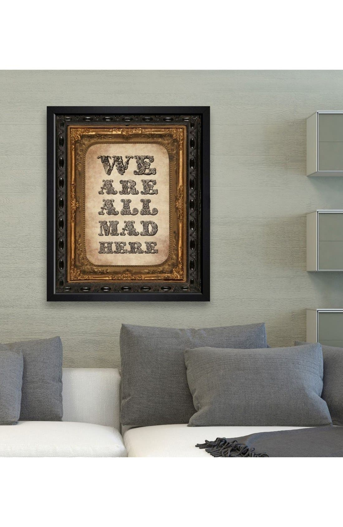 'We Are All Mad Here' Framed Print,                             Alternate thumbnail 2, color,                             001