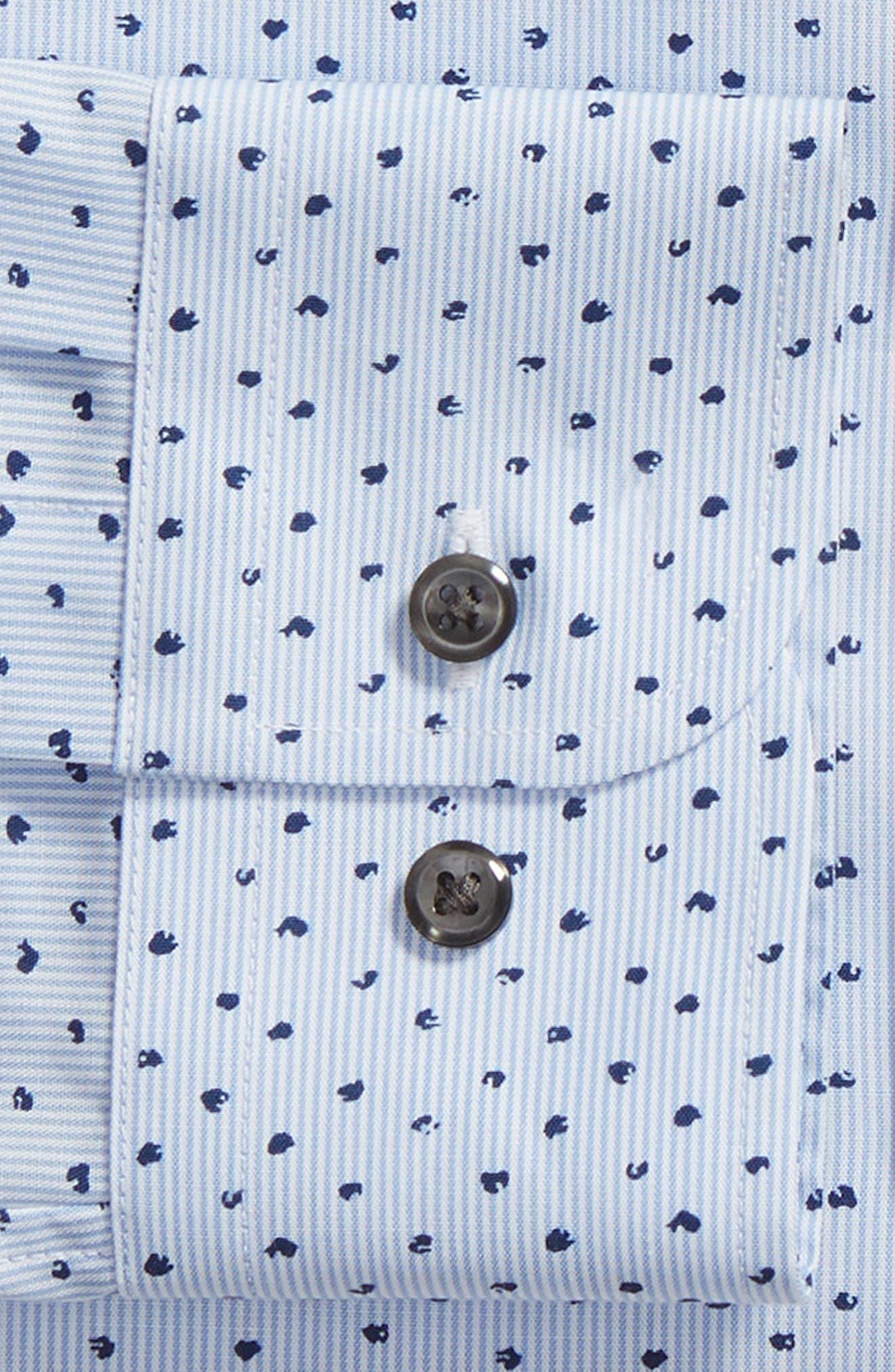 Trim Fit Stripe Dot Dress Shirt,                             Alternate thumbnail 6, color,                             BLUE CORNFLOWER