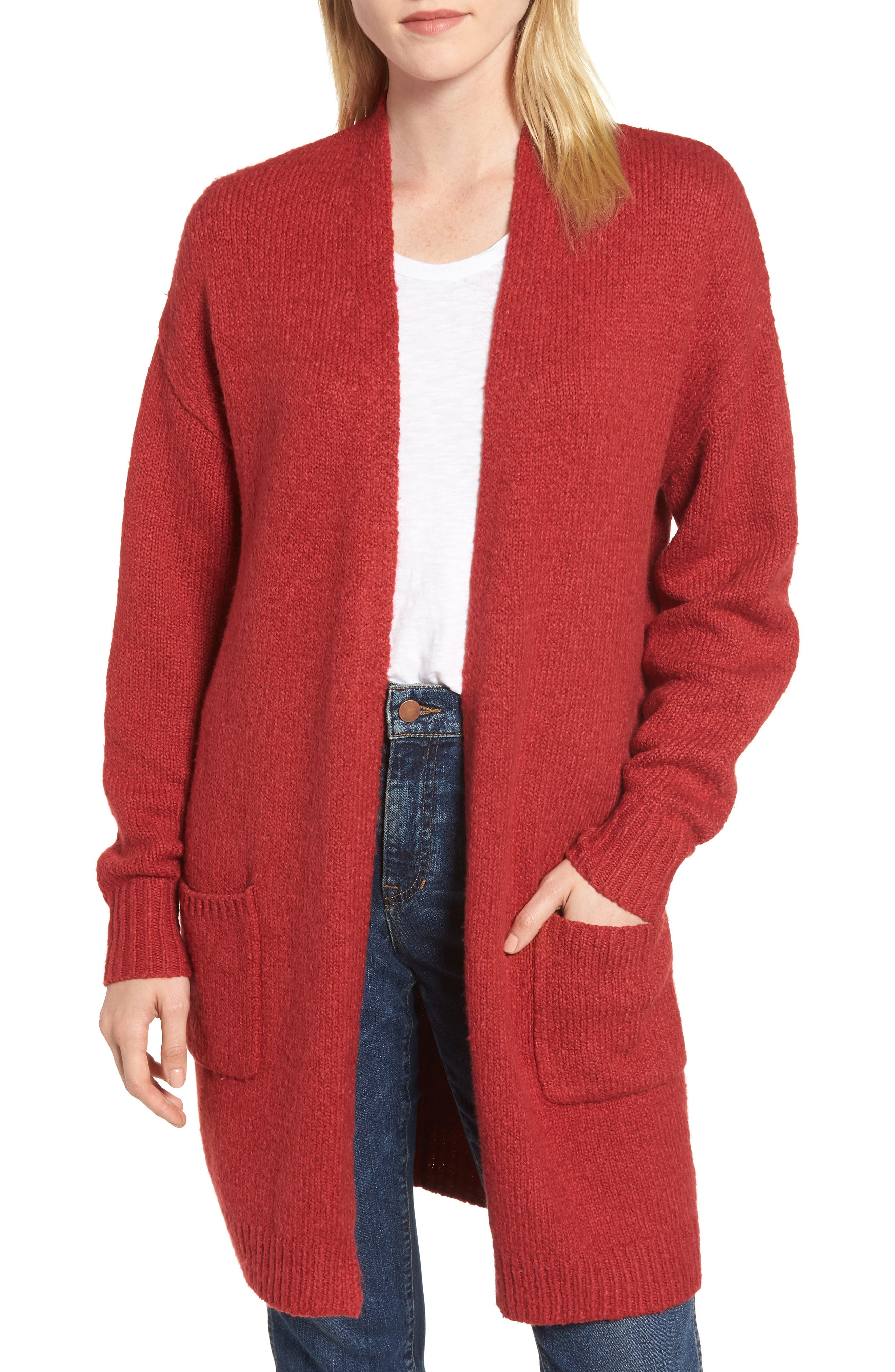 Cotton Blend Cardigan,                         Main,                         color, RED