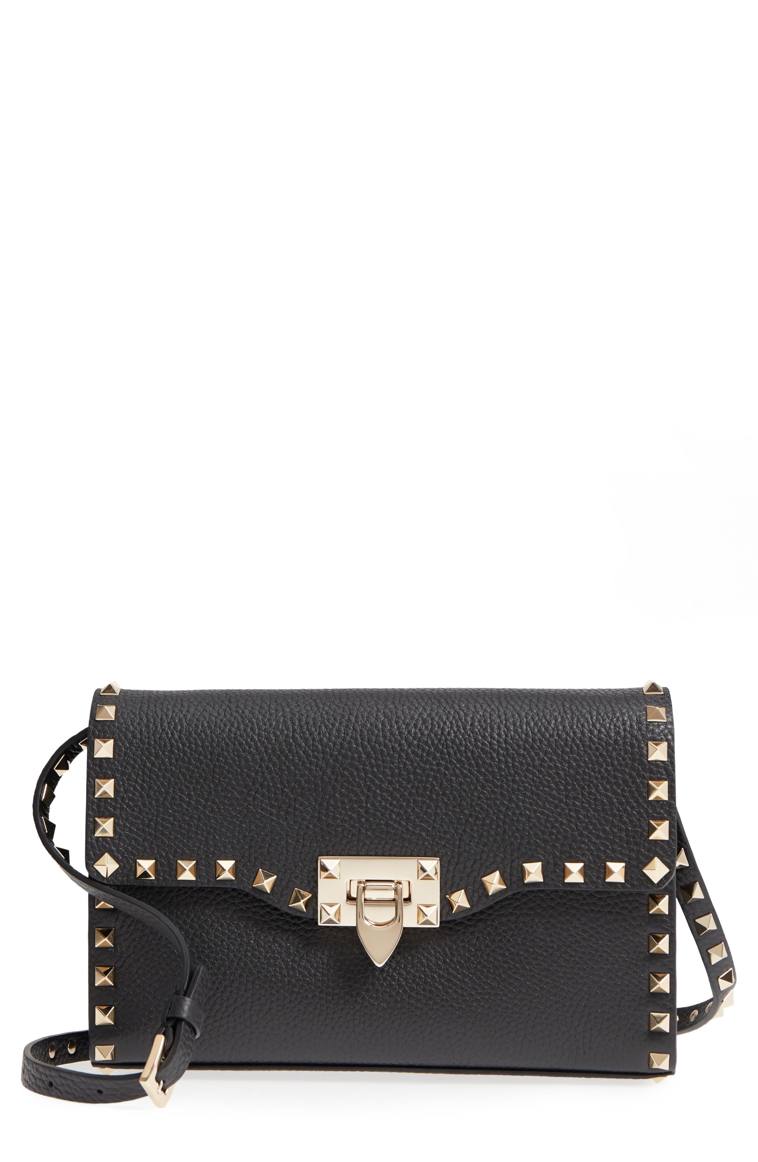 Rockstud Mini Calfskin Leather Crossbody - Black