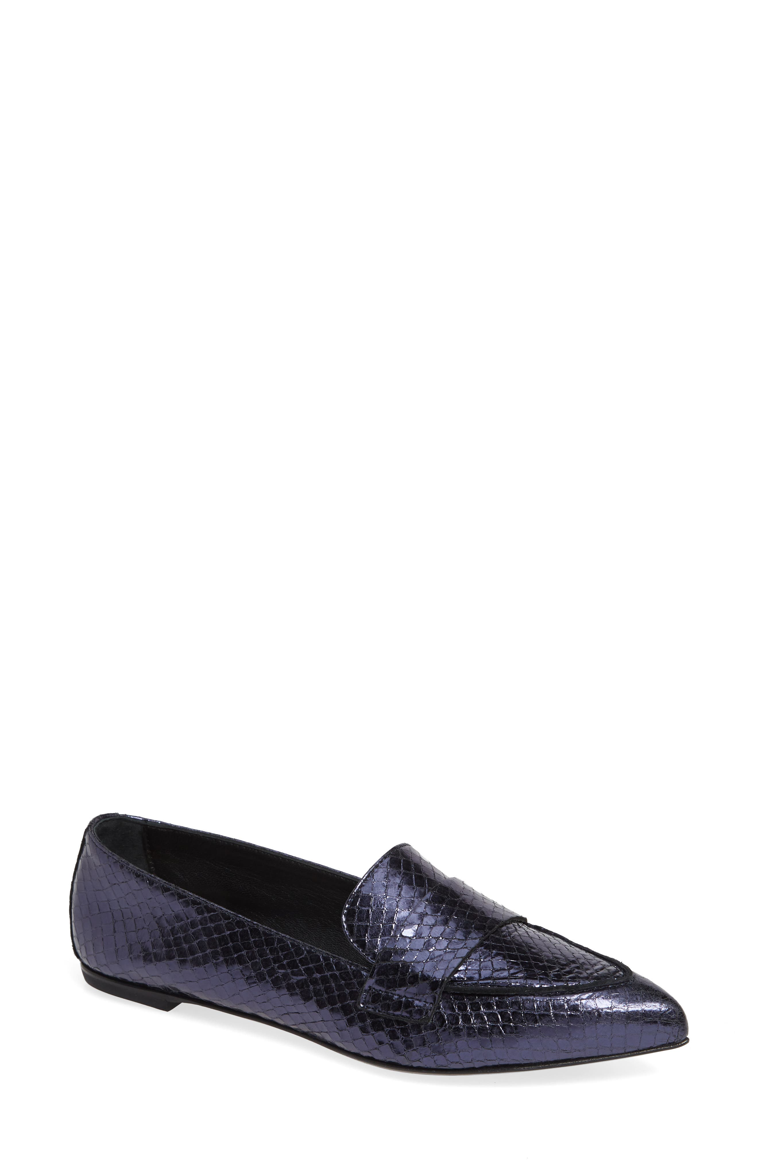 Agl Softy Pointy Toe Moccasin Loafer, Blue