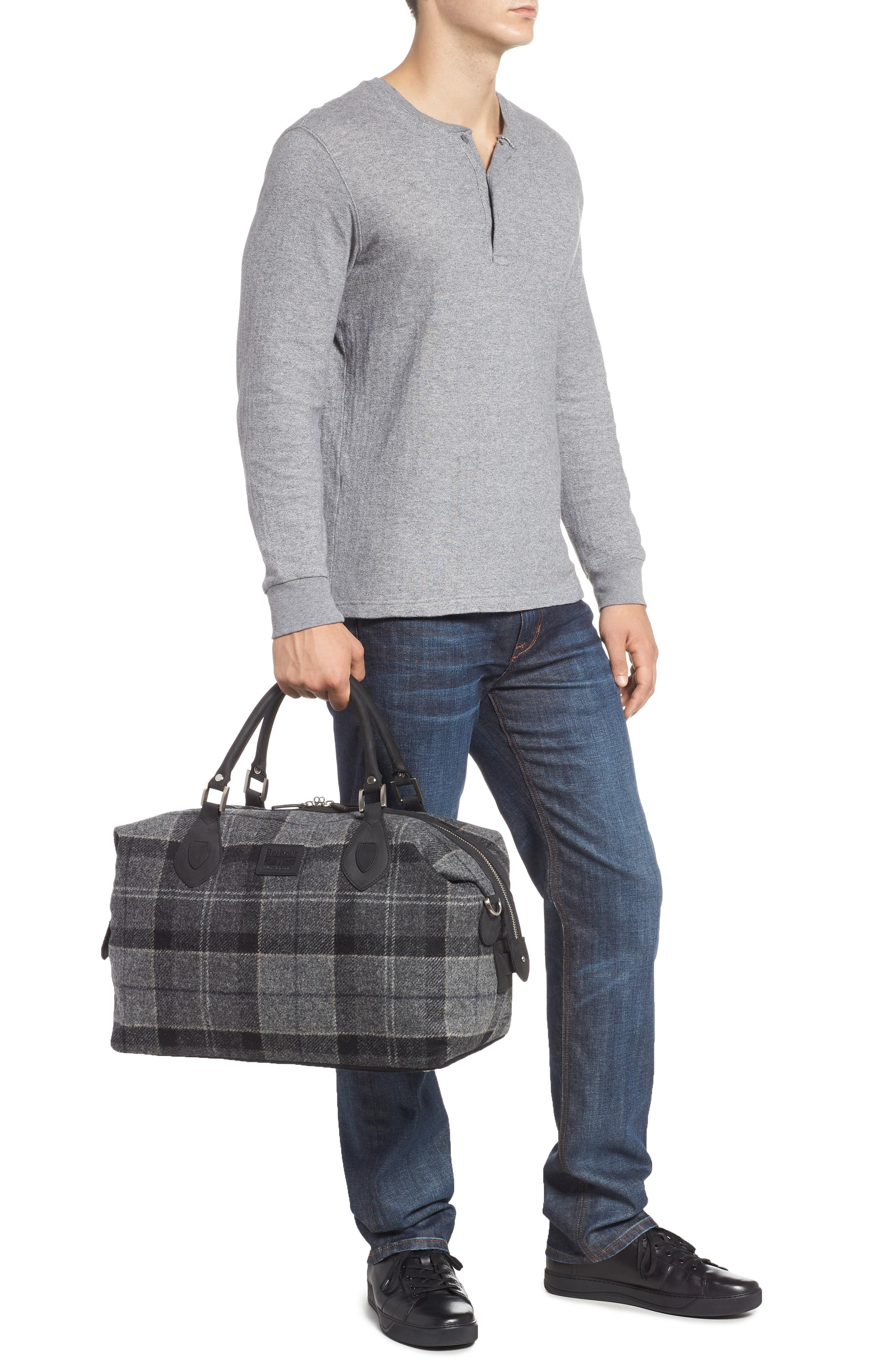 Shadow Duffel Bag,                             Alternate thumbnail 2, color,                             BLACK/ GREY TARTAN