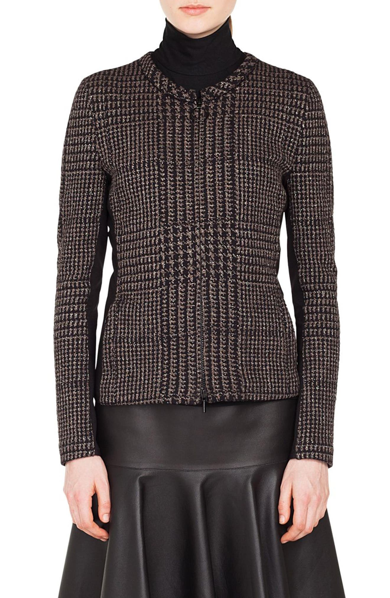 Metallic Houndstooth Jacquard Jacket,                             Main thumbnail 1, color,                             BLACK/ TAUPE