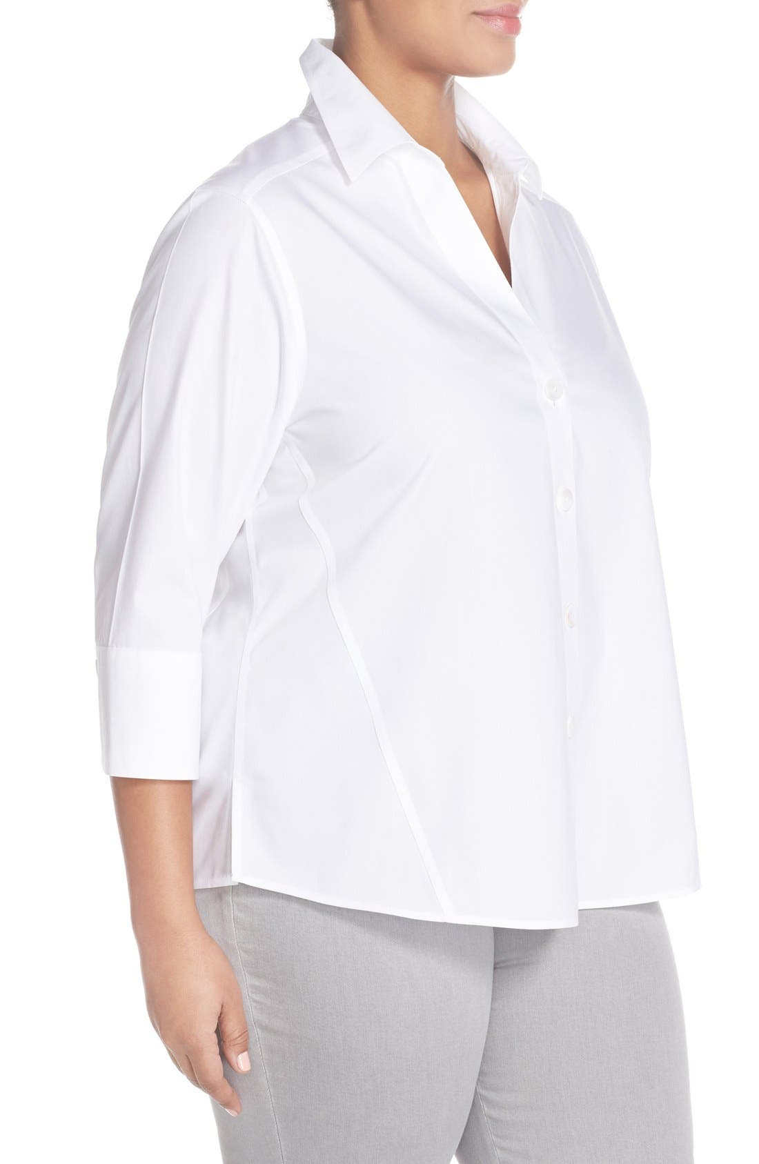 Paige Non-Iron Cotton Shirt,                             Alternate thumbnail 6, color,                             WHITE