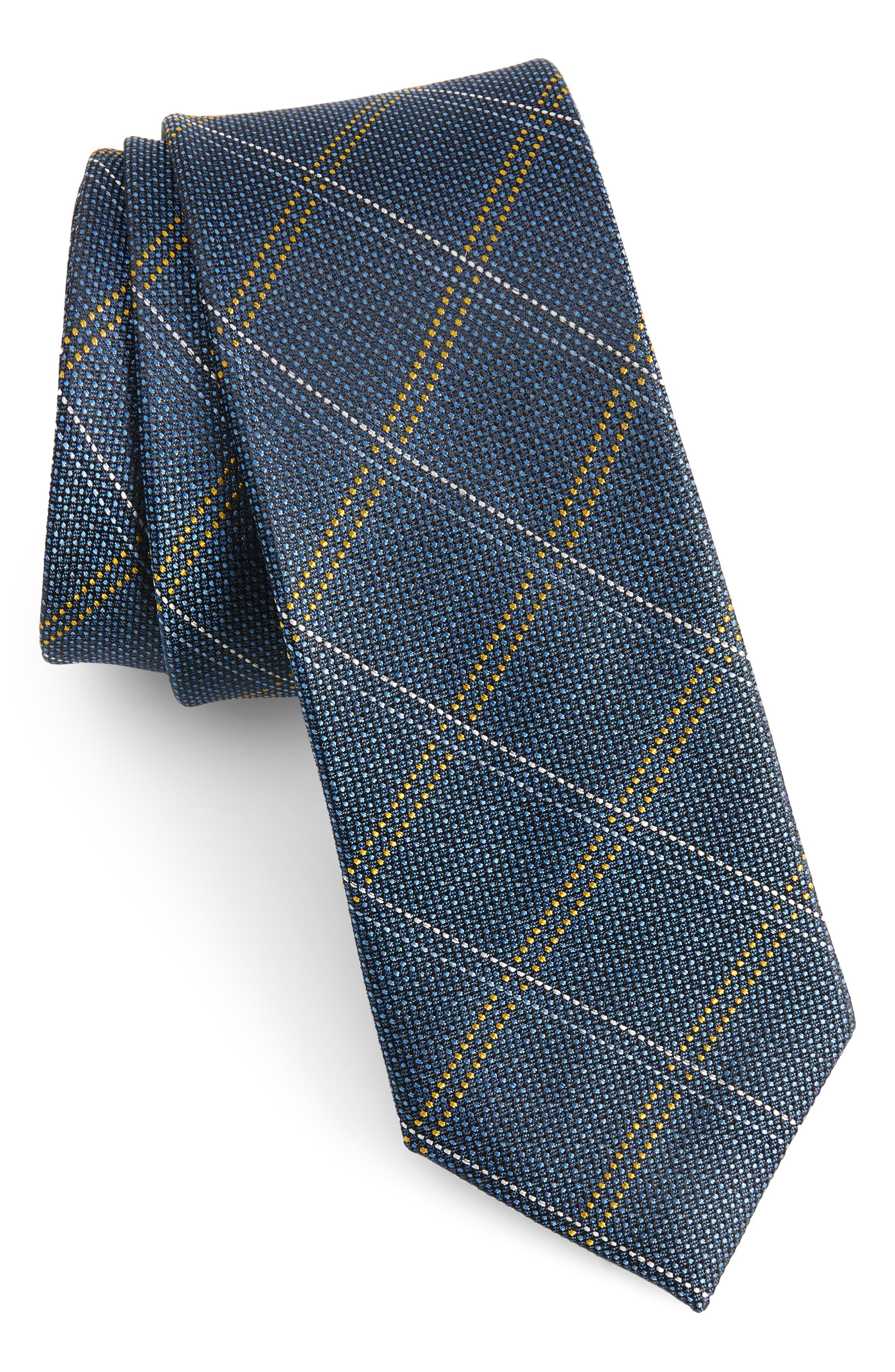 Wingman Checks Silk Skinny Tie,                         Main,                         color, 400