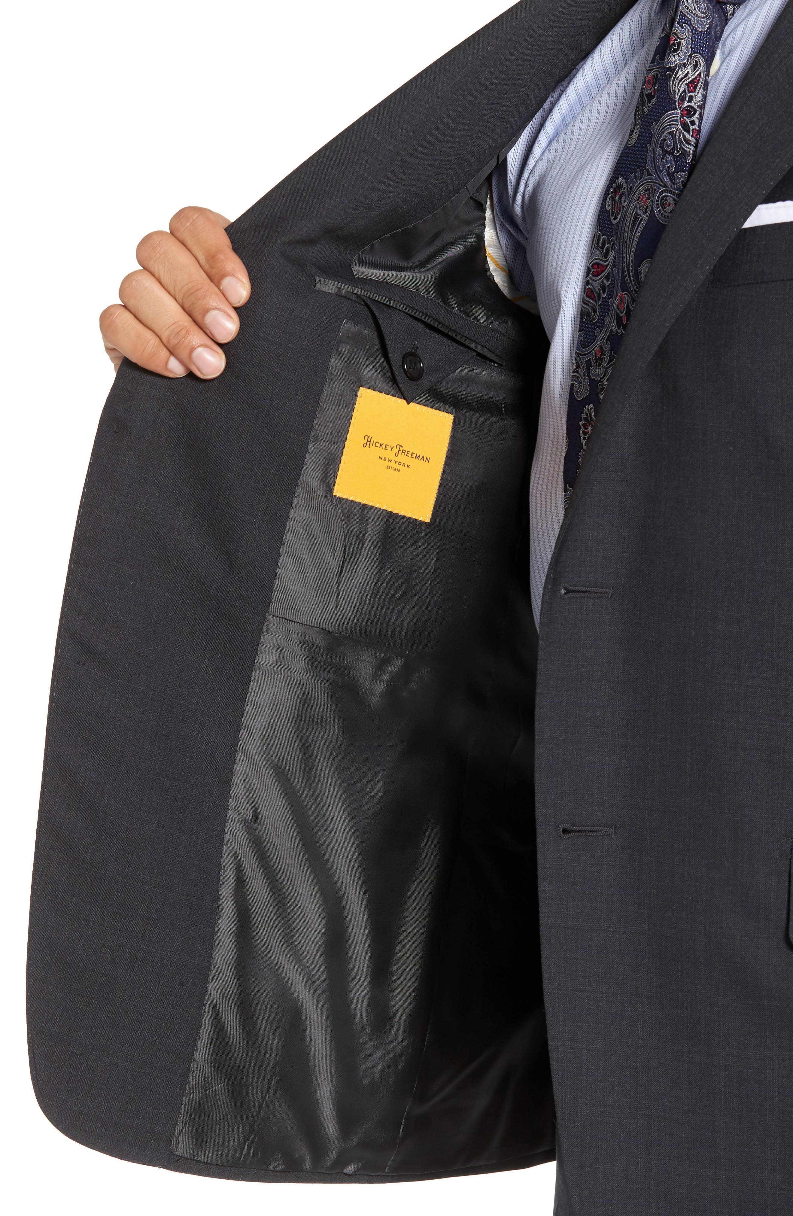 Classic B Fit Check Wool Suit,                             Alternate thumbnail 4, color,                             099