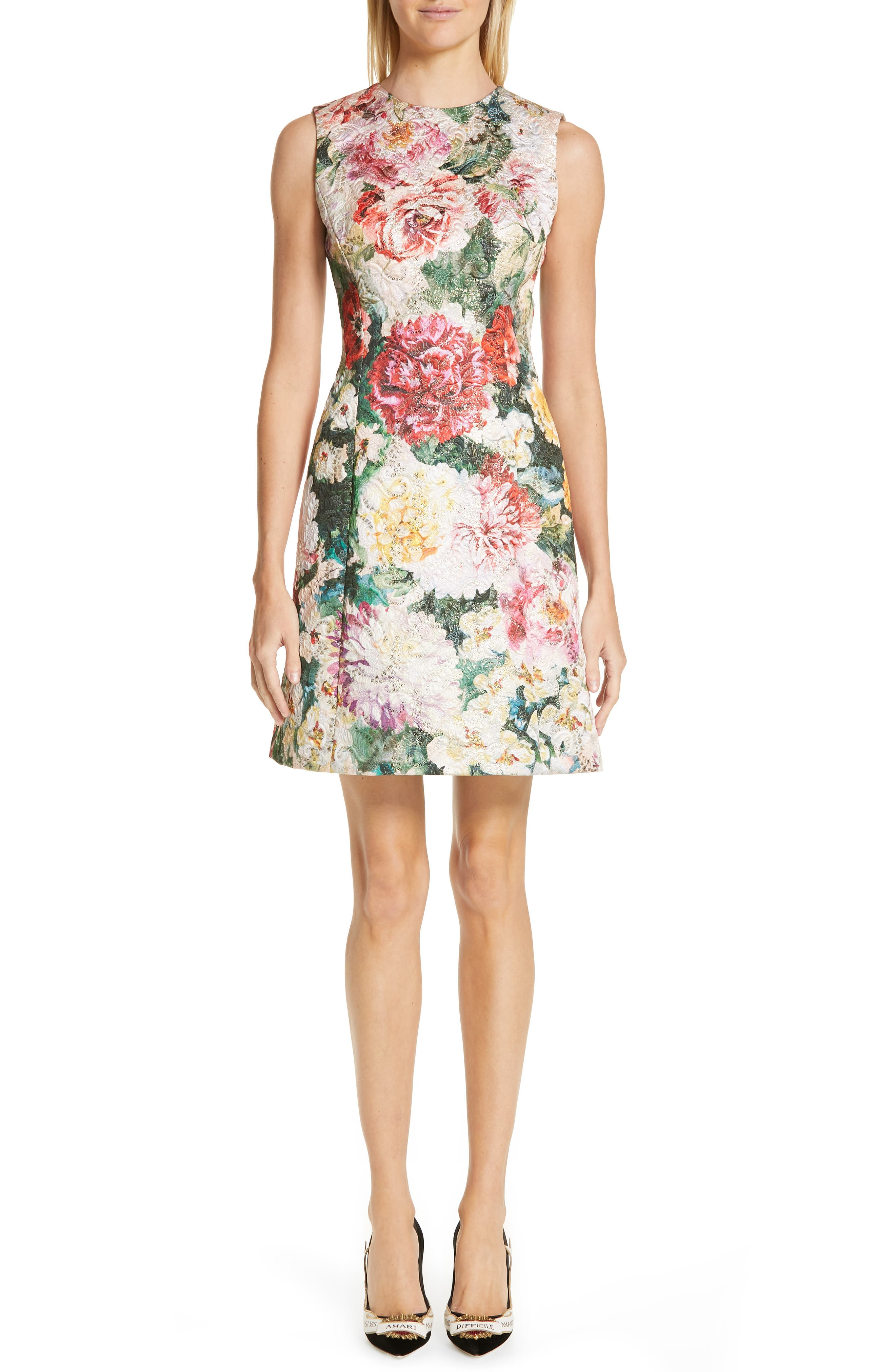 Dolce & gabbana Floral Print Brocade Dress, US / 44 IT - Pink
