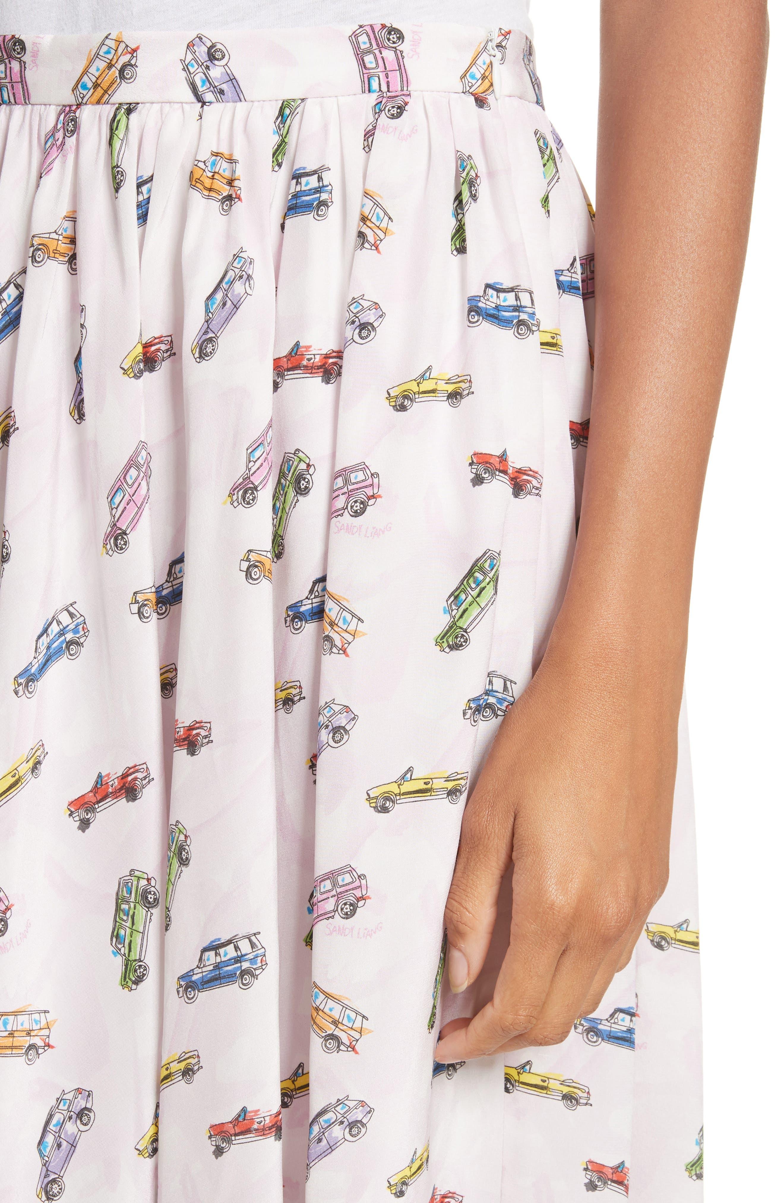Linguini Car Print Silk Skirt,                             Alternate thumbnail 4, color,