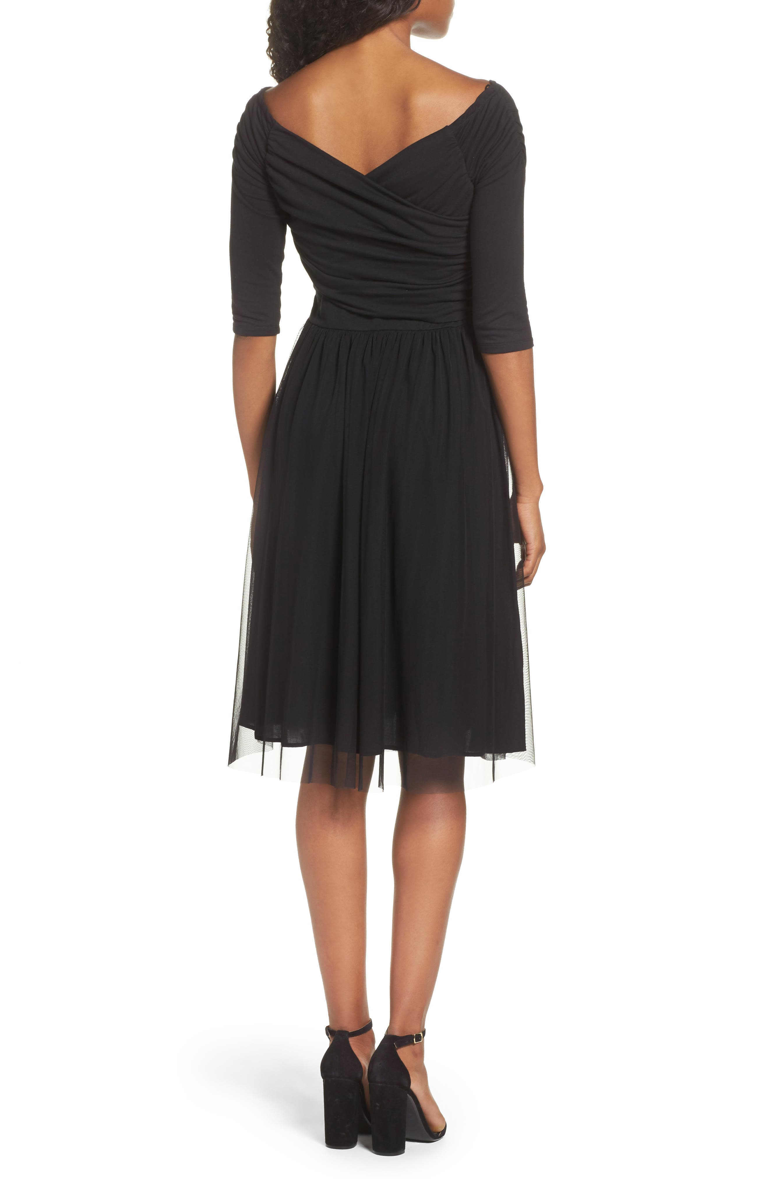 Tulle Fit & Flare Dress,                             Alternate thumbnail 2, color,                             001