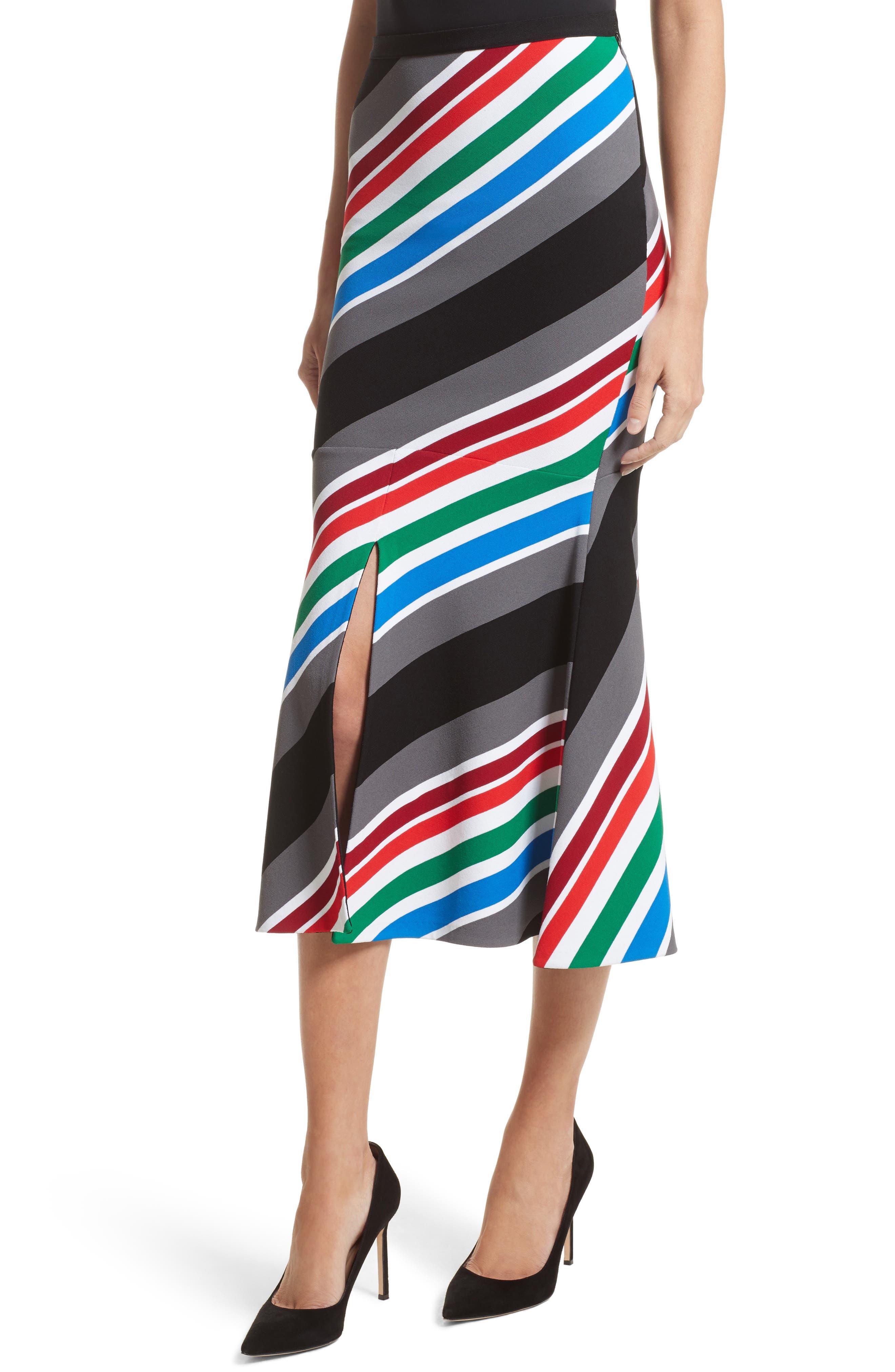 Compact Knit Stripe Skirt,                             Alternate thumbnail 4, color,                             960