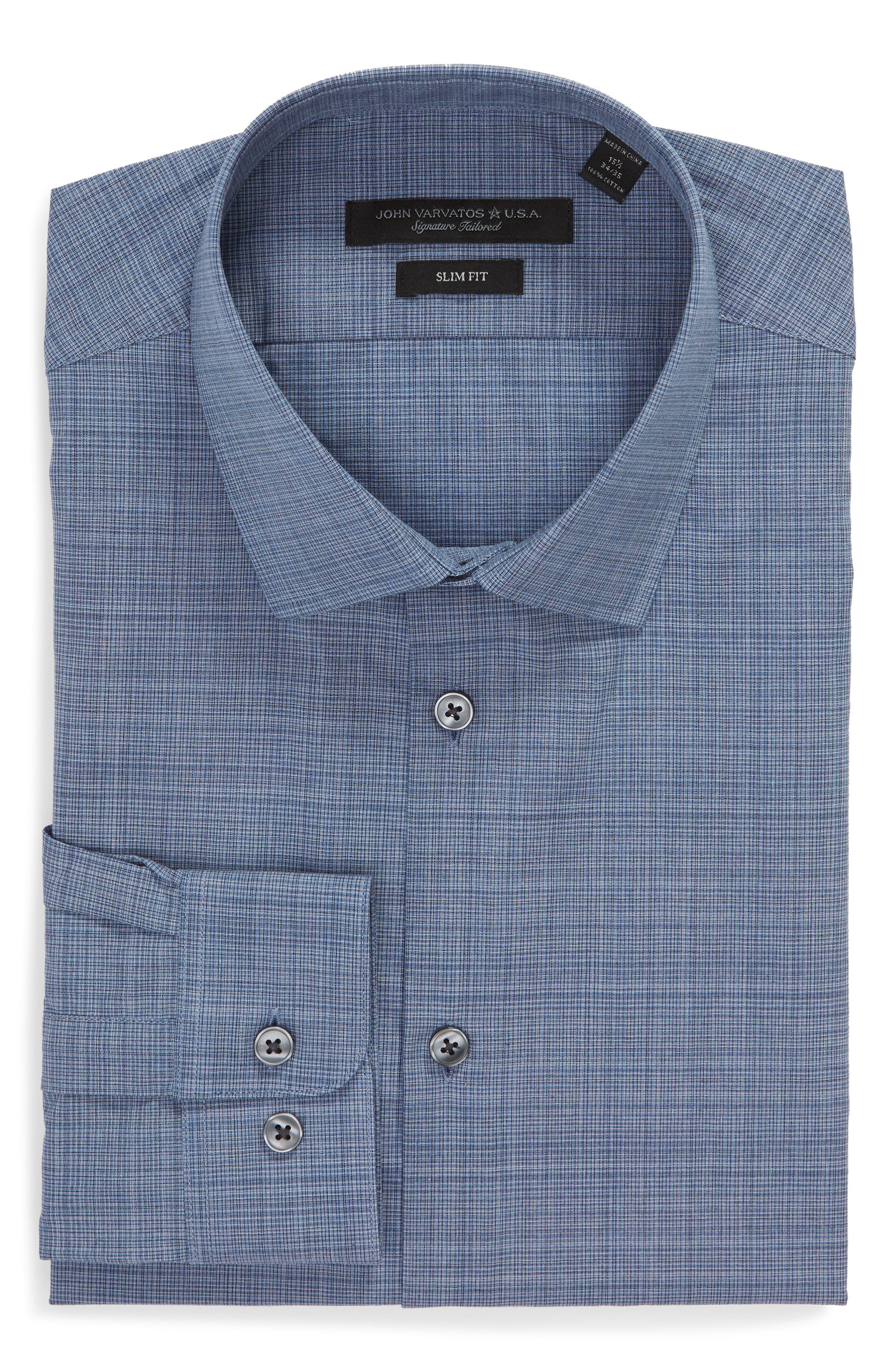 Slim Fit Check Dress Shirt,                             Alternate thumbnail 5, color,                             BLUE HEATHER