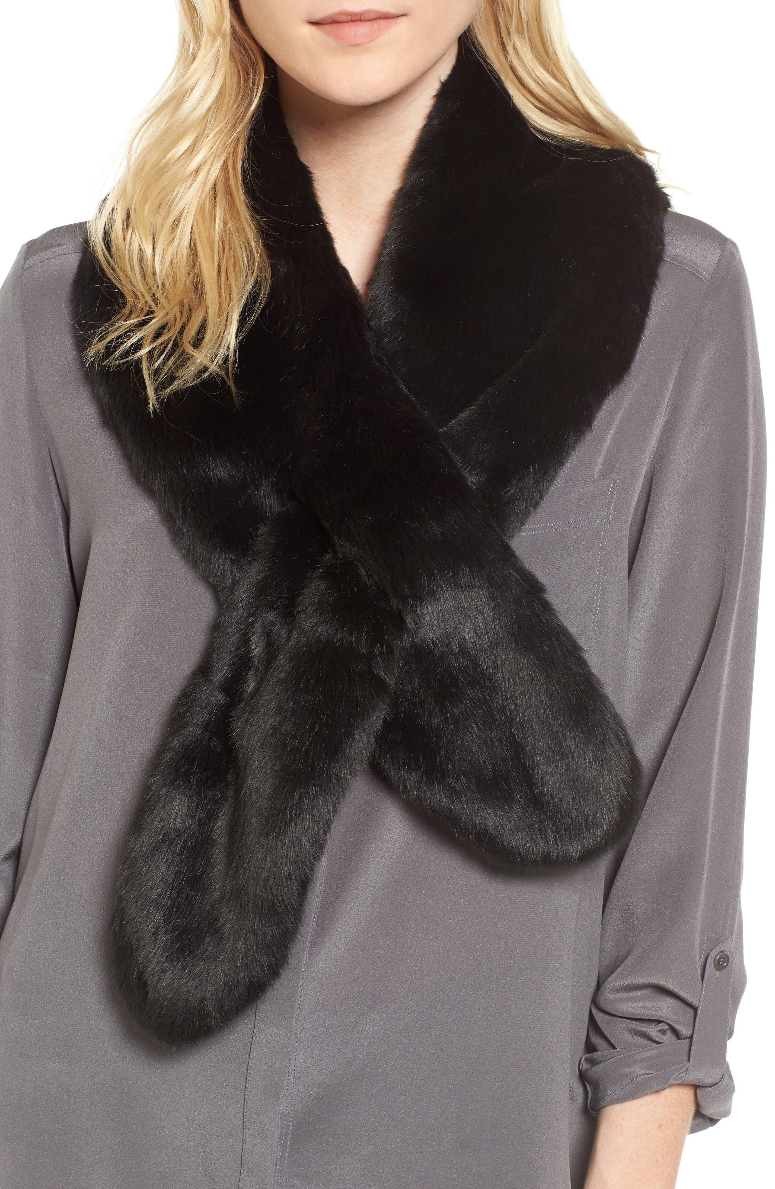 Faux Fur Pull Through Scarf,                         Main,                         color, 001