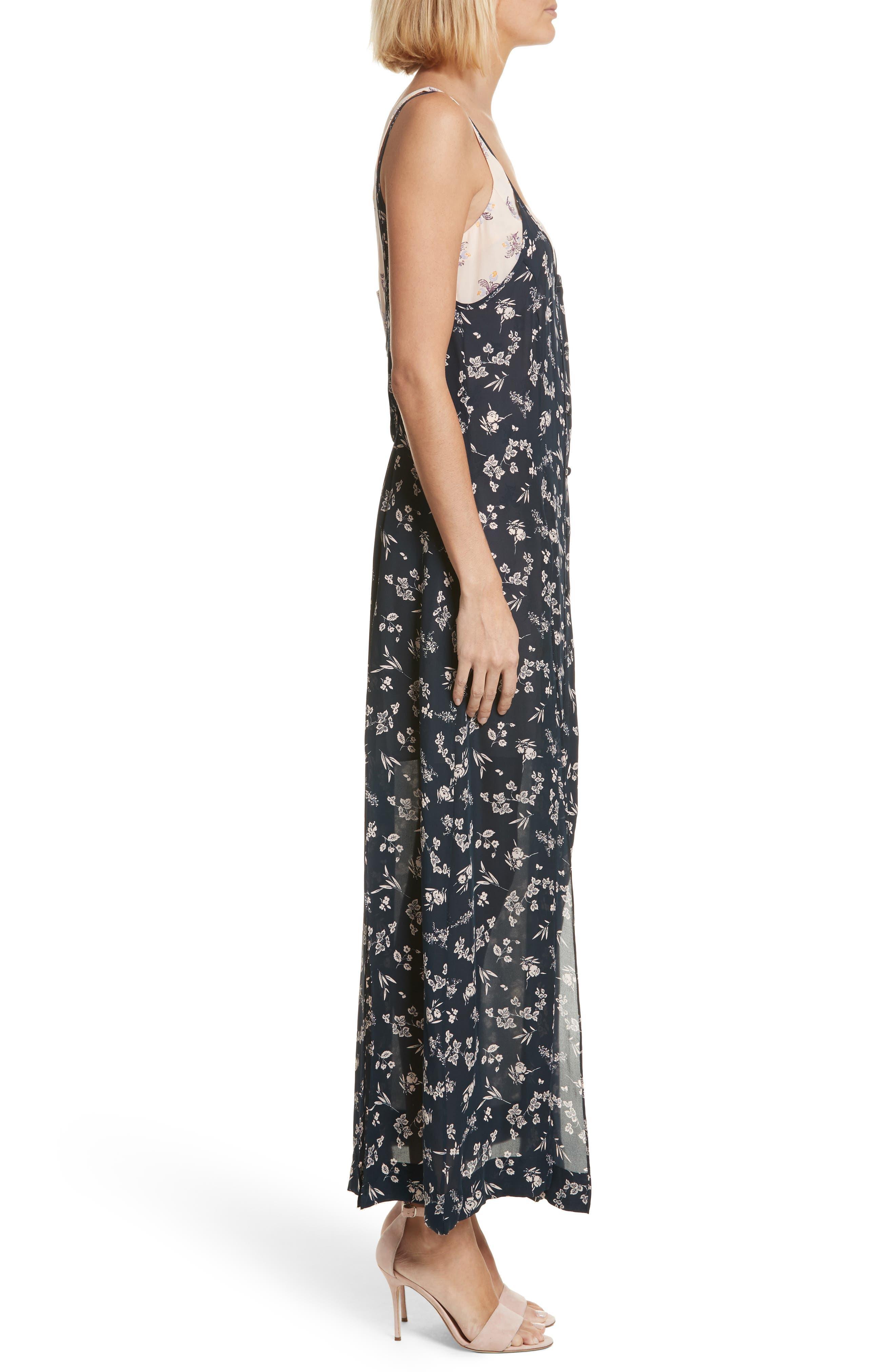 Jocelyn Floral Print Layered Silk Dress,                             Alternate thumbnail 3, color,                             499