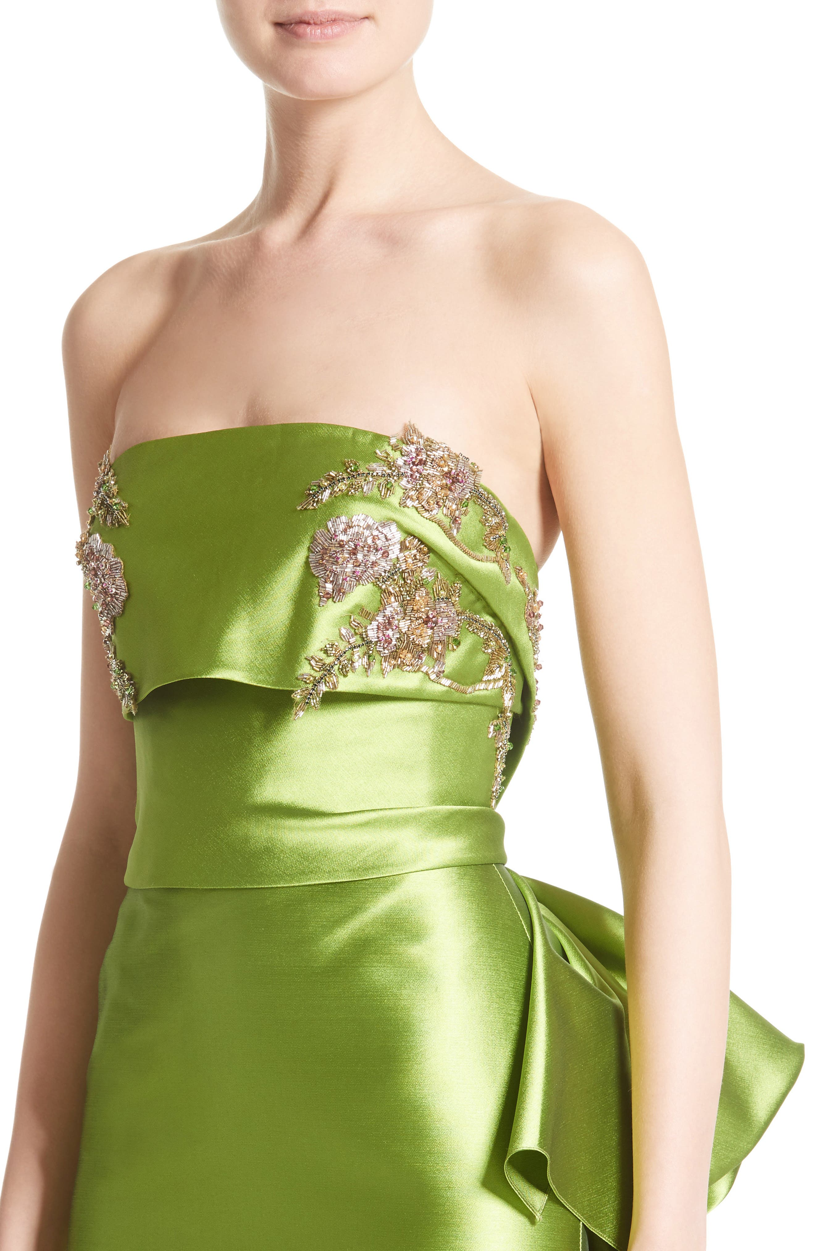 Embellished Mikado Strapless Column Gown,                             Alternate thumbnail 4, color,                             319