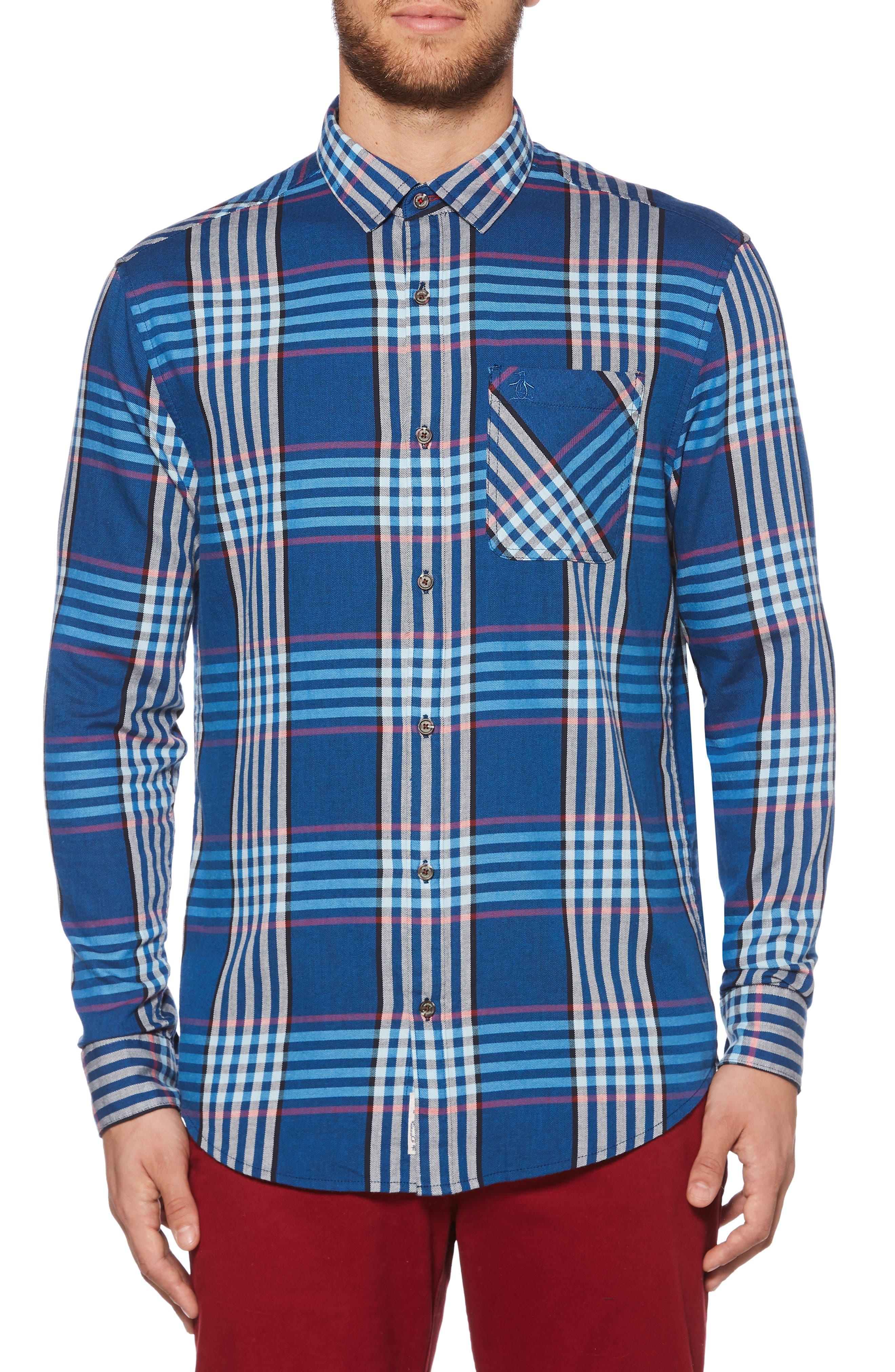 Plaid Flannel Sport Shirt,                         Main,                         color, DARK SAPPHIRE