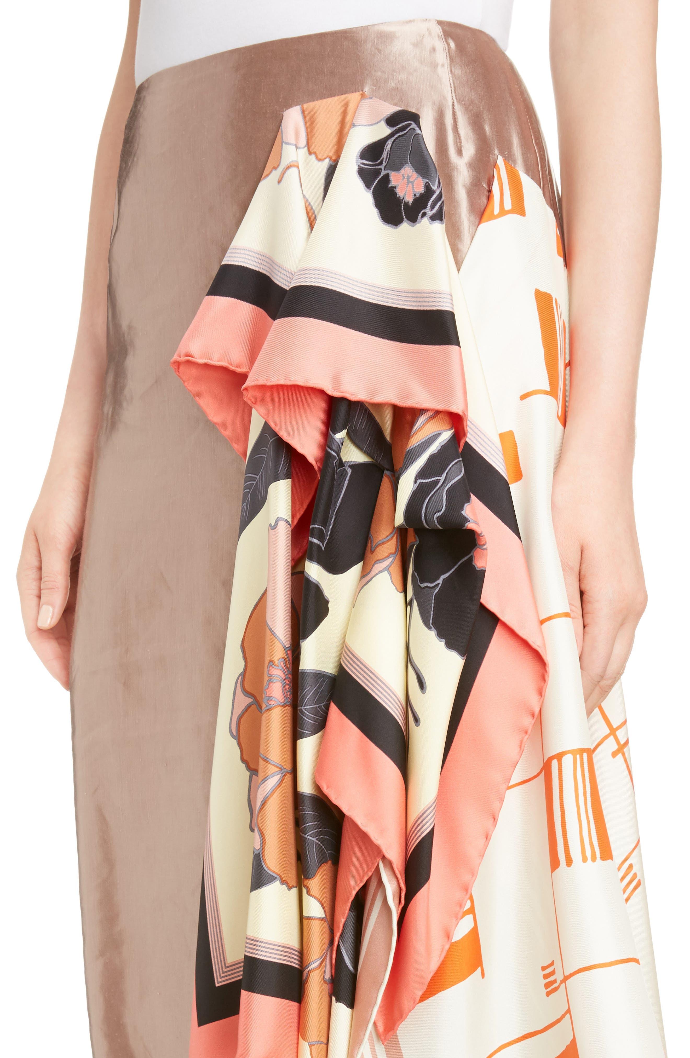 Scarf Satin Skirt,                             Alternate thumbnail 4, color,                             220