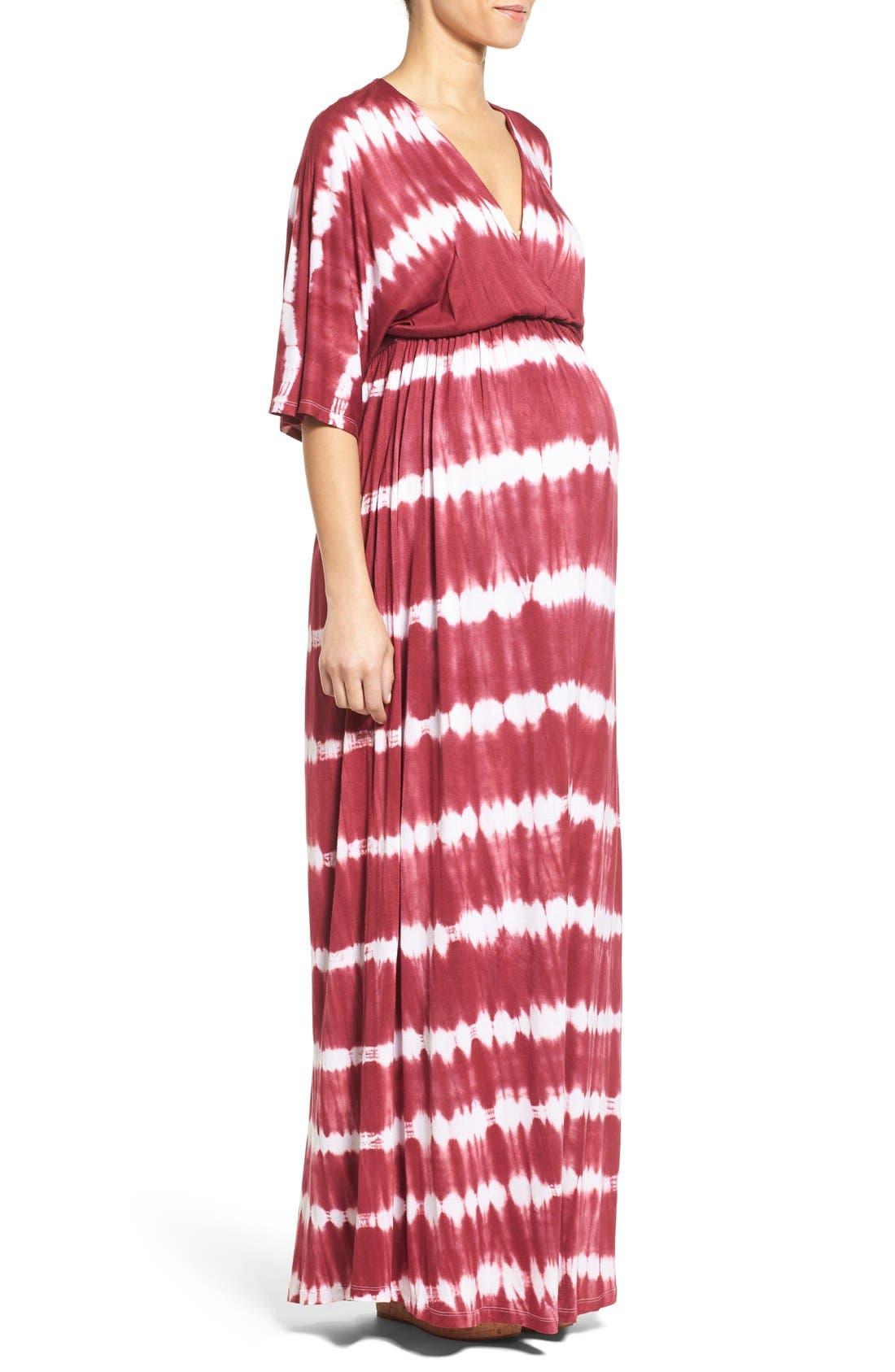 'Dream Shakey' Tie Dye Maternity Maxi Dress,                             Alternate thumbnail 3, color,                             RASPBERRY TIE DYE