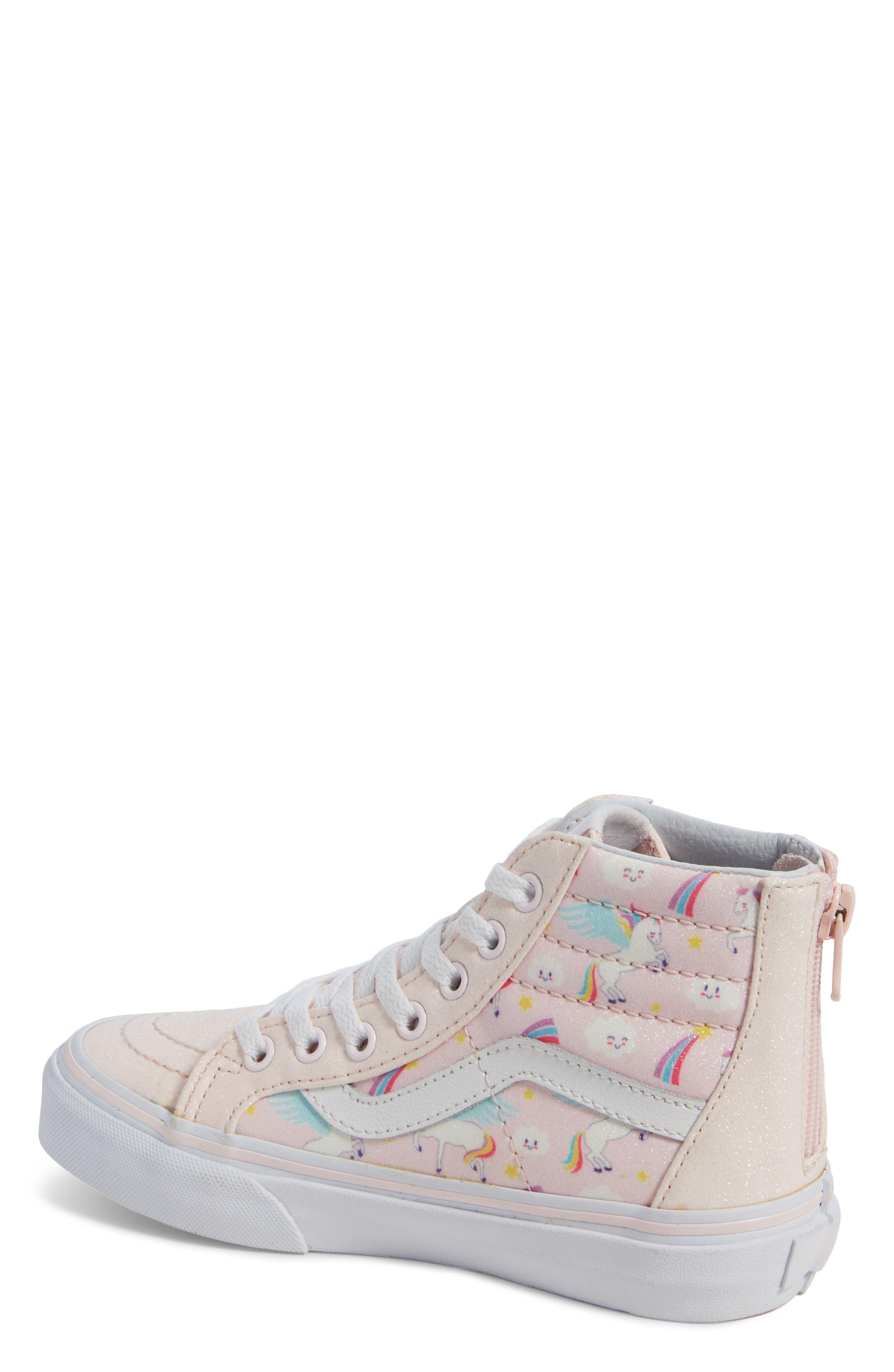 Sk8-Hi Zip Sneaker,                             Alternate thumbnail 2, color,                             GLITTER PEGASUS PINK/ WHITE