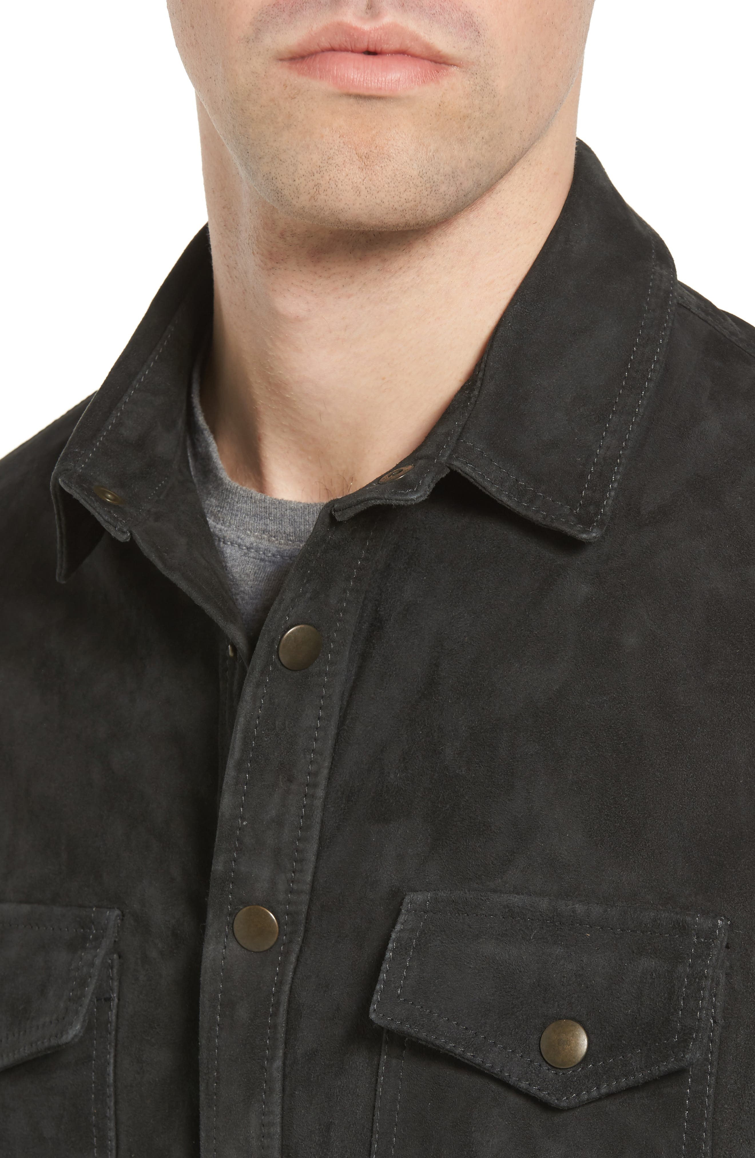 Suede Work Shirt,                             Alternate thumbnail 4, color,                             CHARCOAL
