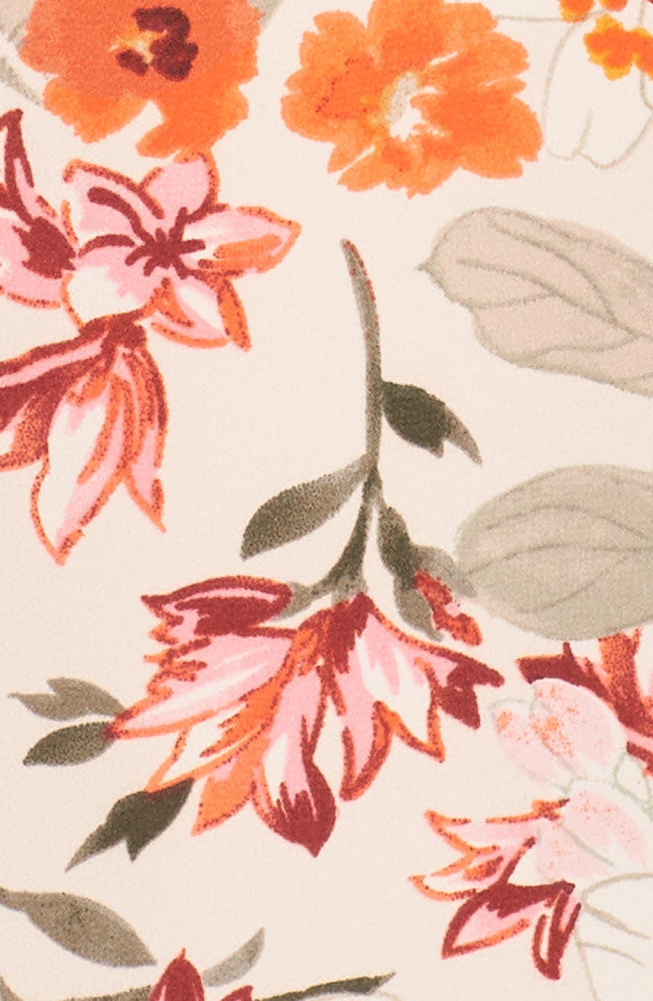 Floral Ruffle Sleeve Maxi Dress,                             Alternate thumbnail 6, color,                             640