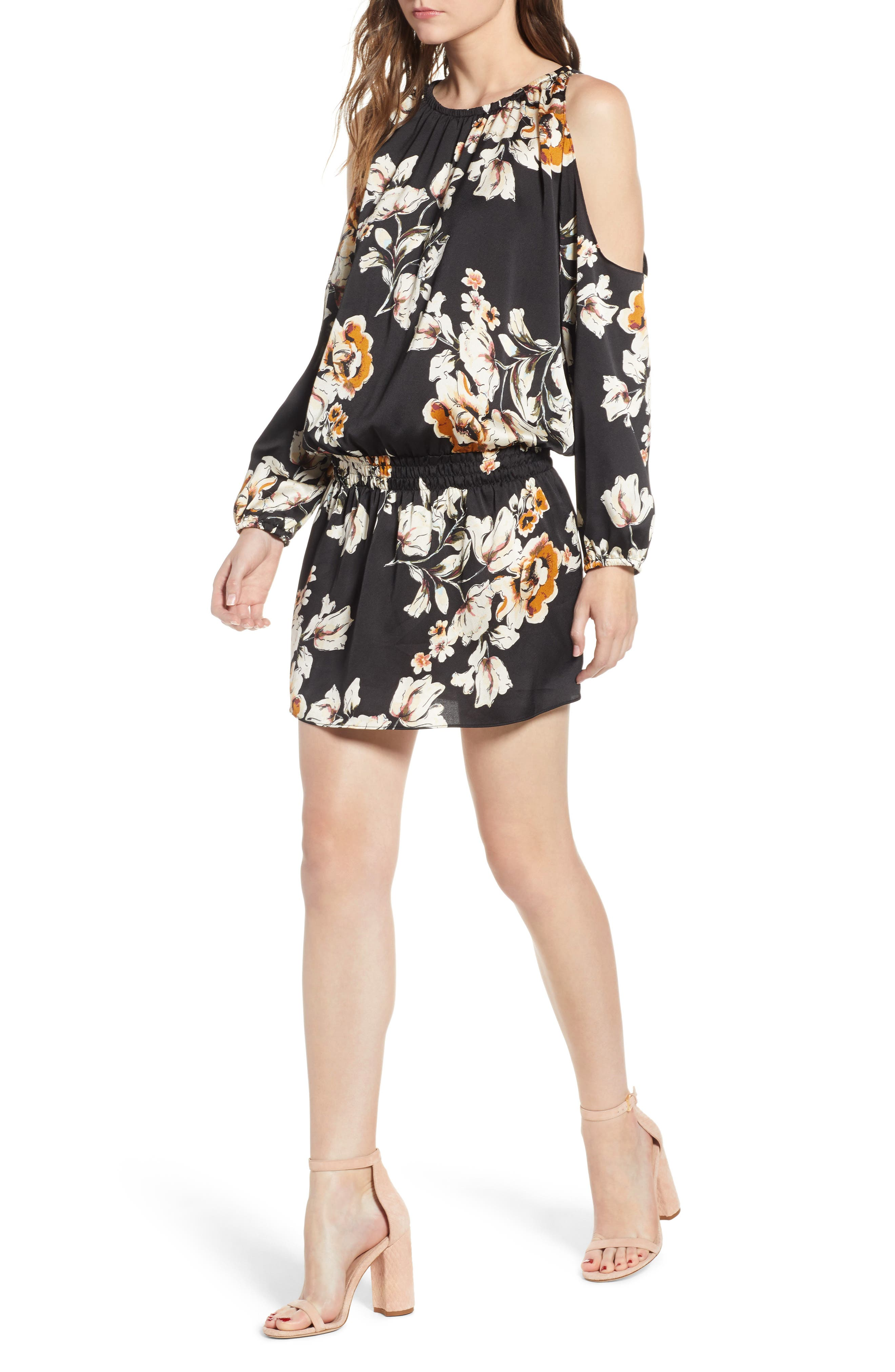 Bishop + Young Cold Shoulder Mini Dress,                             Main thumbnail 1, color,                             BLACK