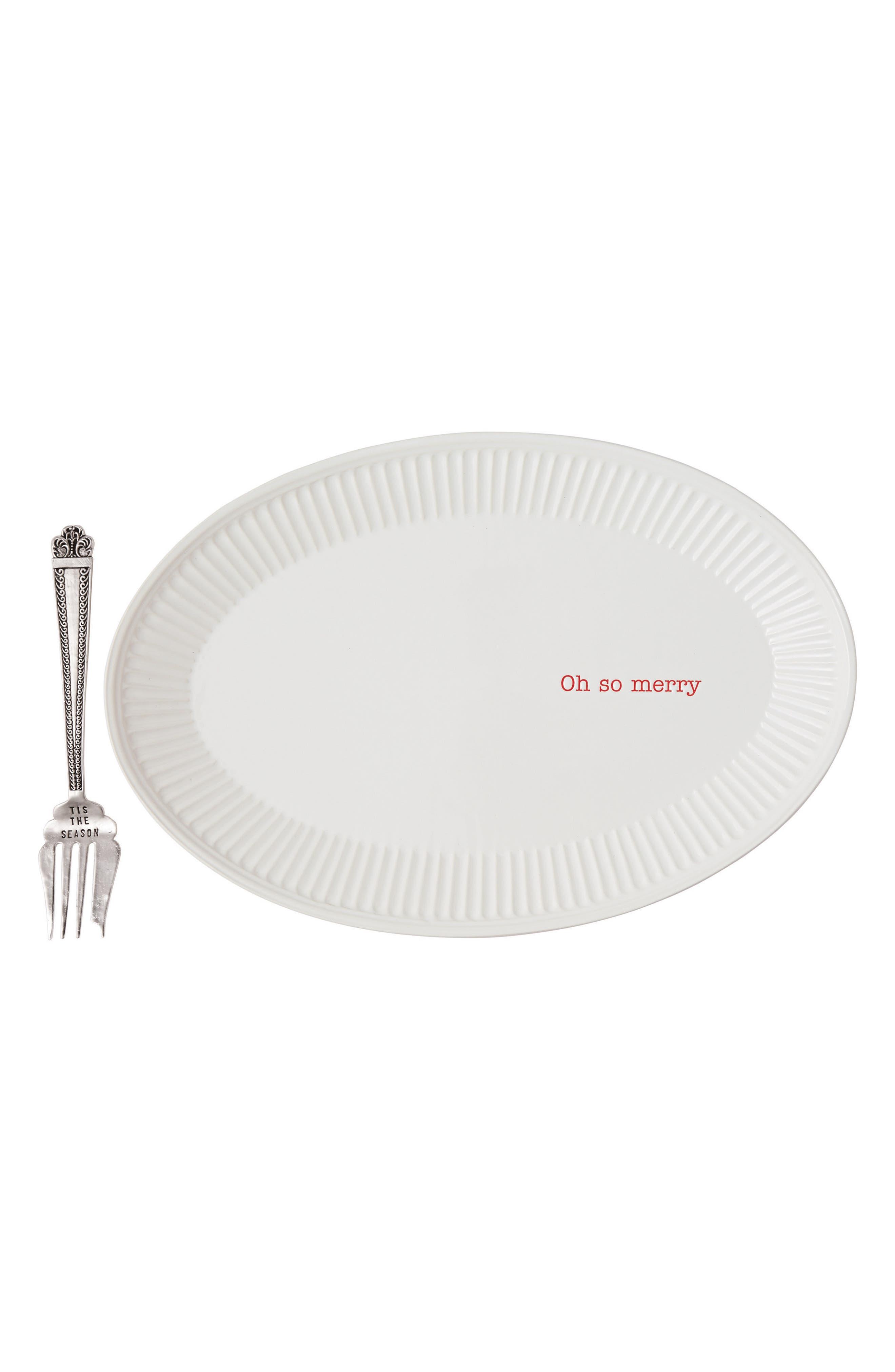 Oh So Merry Ceramic Platter & Serving Fork,                         Main,                         color, 100