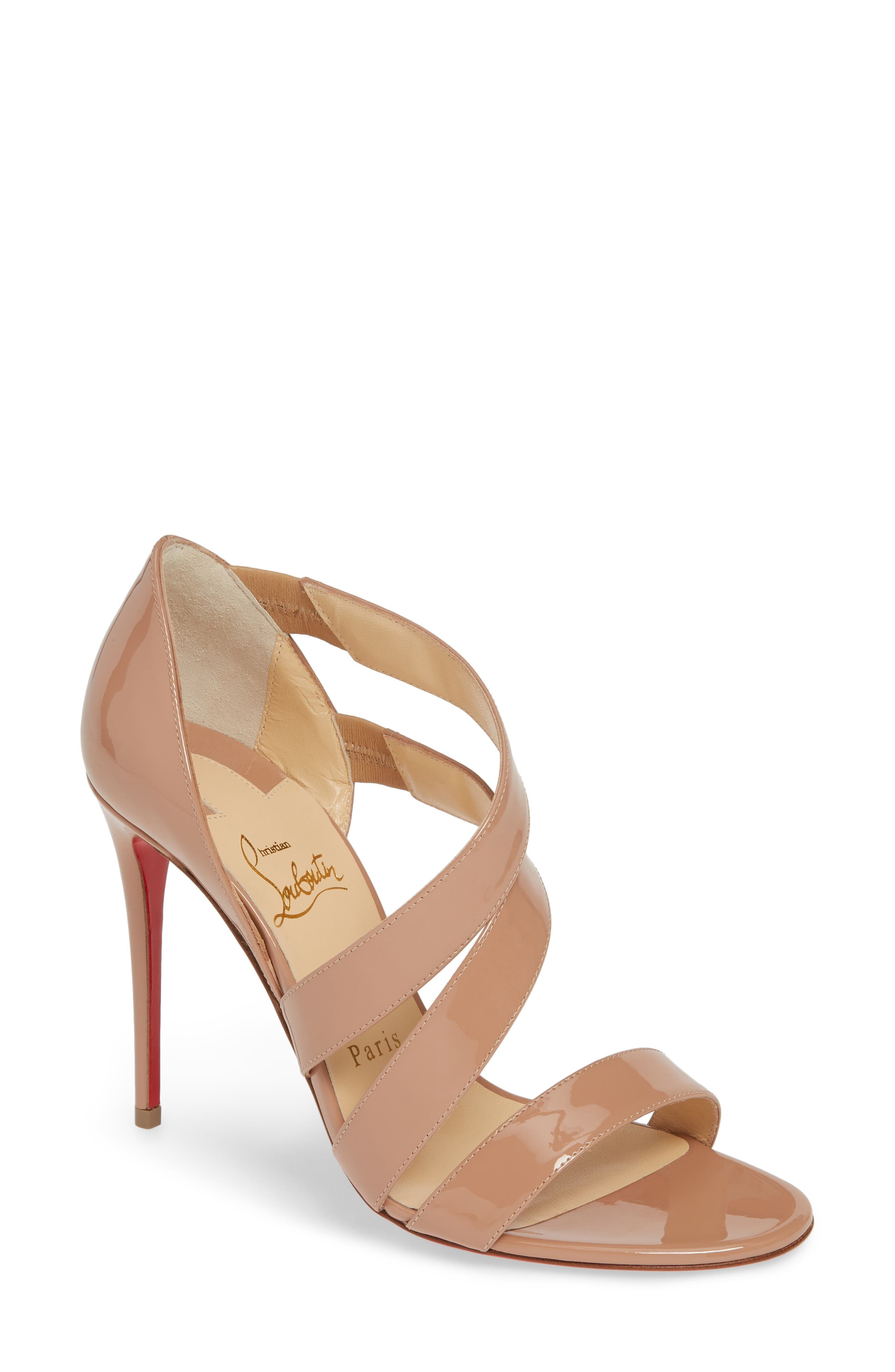 2e5144c08381 Christian Louboutin World Copine Asymmetrical Sandal In Nude Patent