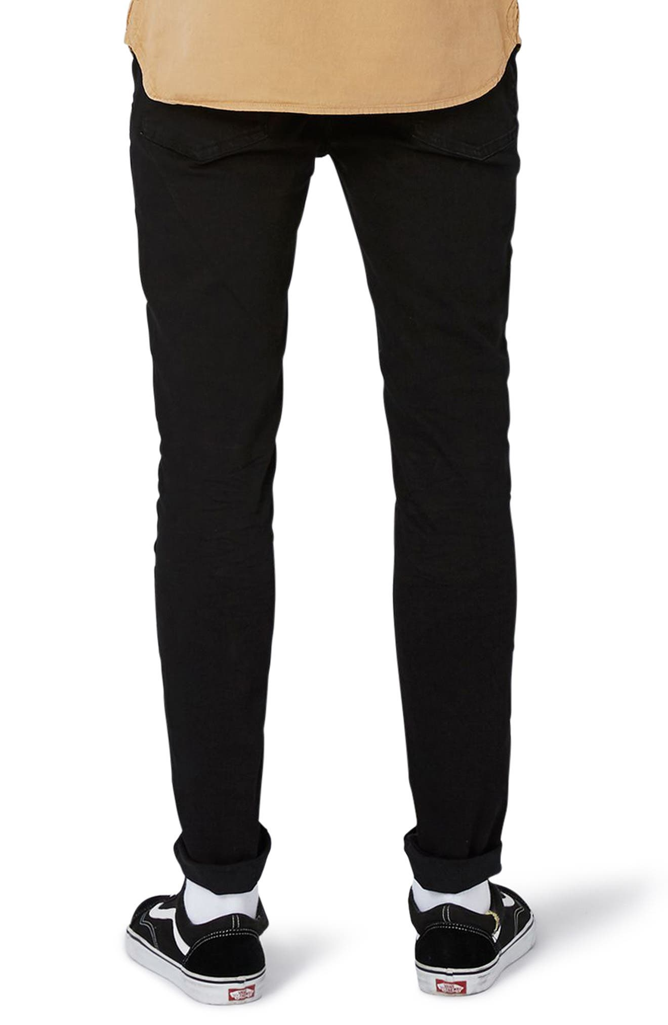 TOPMAN,                             Overdyed Stretch Skinny Jeans,                             Alternate thumbnail 2, color,                             001