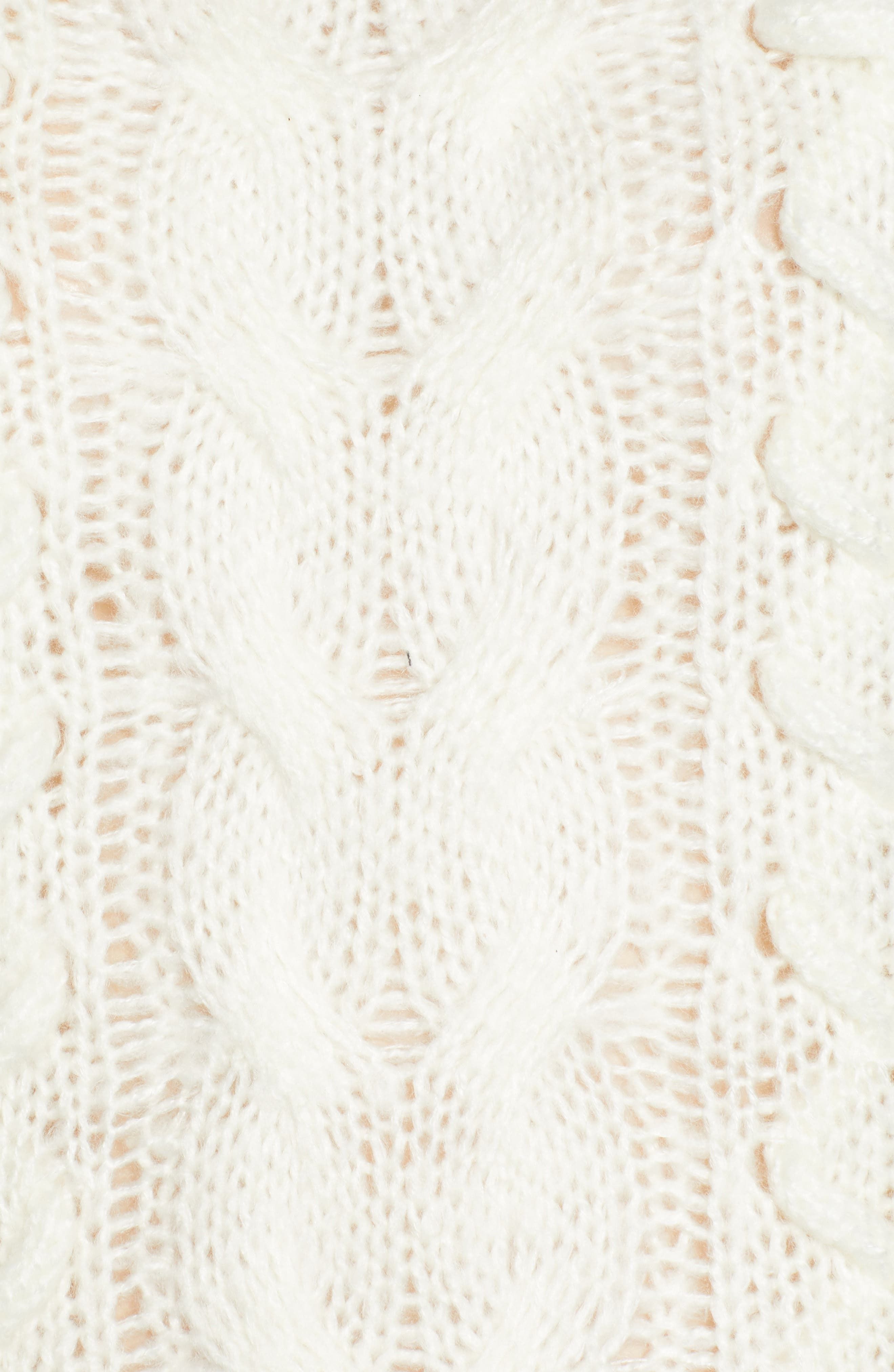 Braided Cable Knit Sweater,                             Alternate thumbnail 5, color,                             IVORY