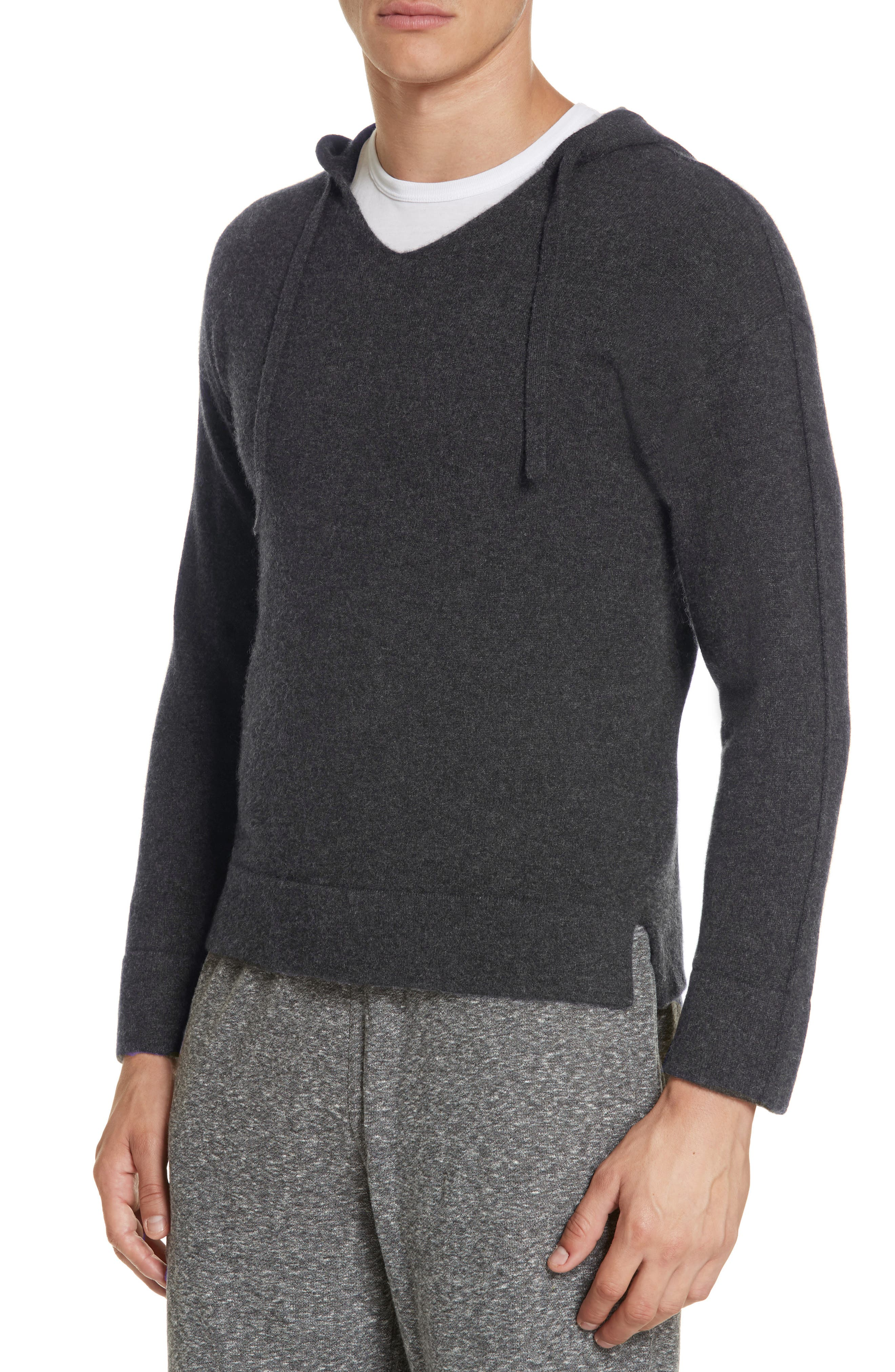Jamie Sunset Cashmere Hooded Sweater,                             Alternate thumbnail 4, color,                             CHARCOAL