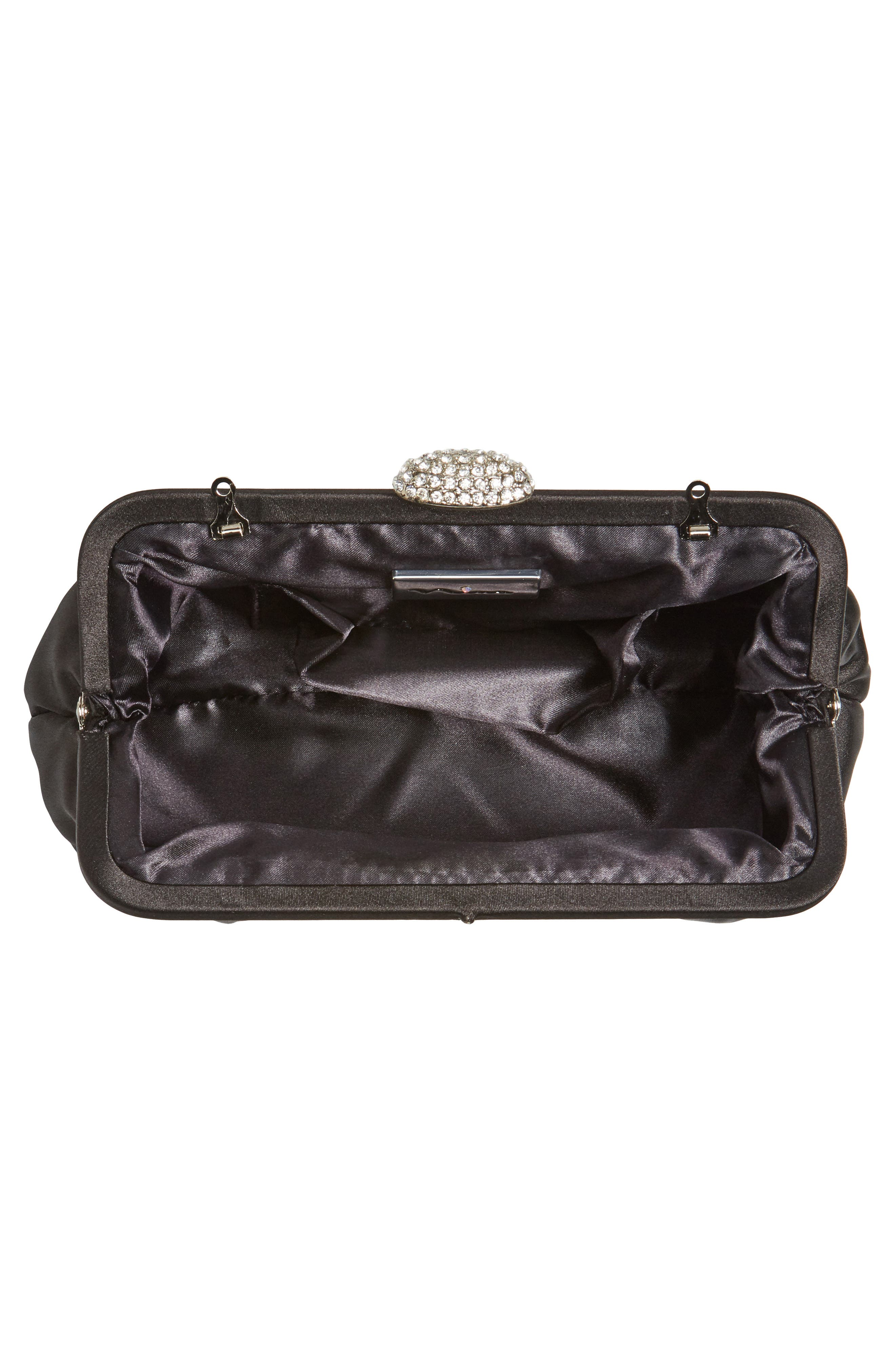 Concord Pleated Satin Frame Clutch,                             Alternate thumbnail 4, color,                             001