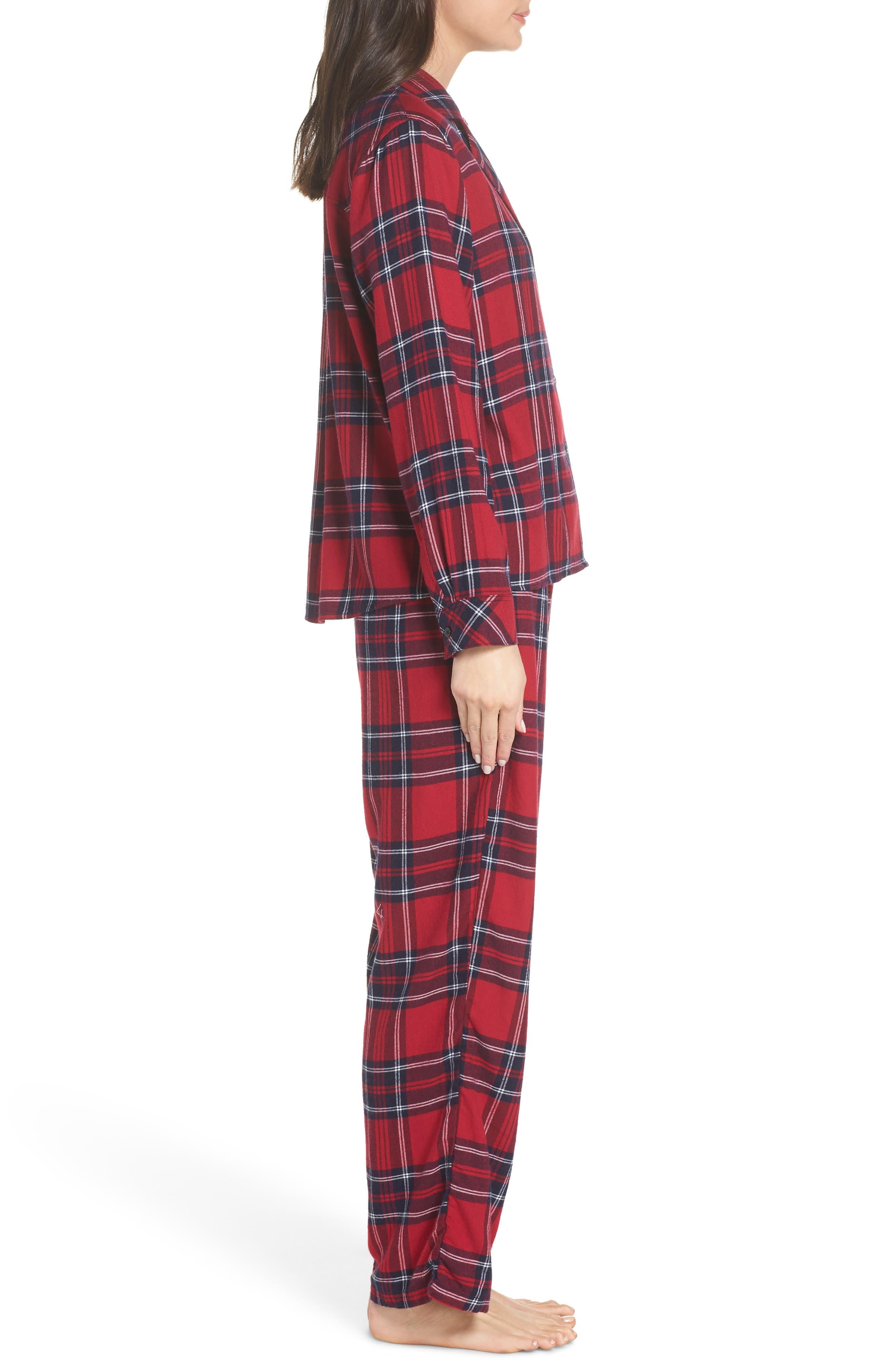 Plaid Pajamas,                             Alternate thumbnail 3, color,                             SCARLET NAVY WHITE