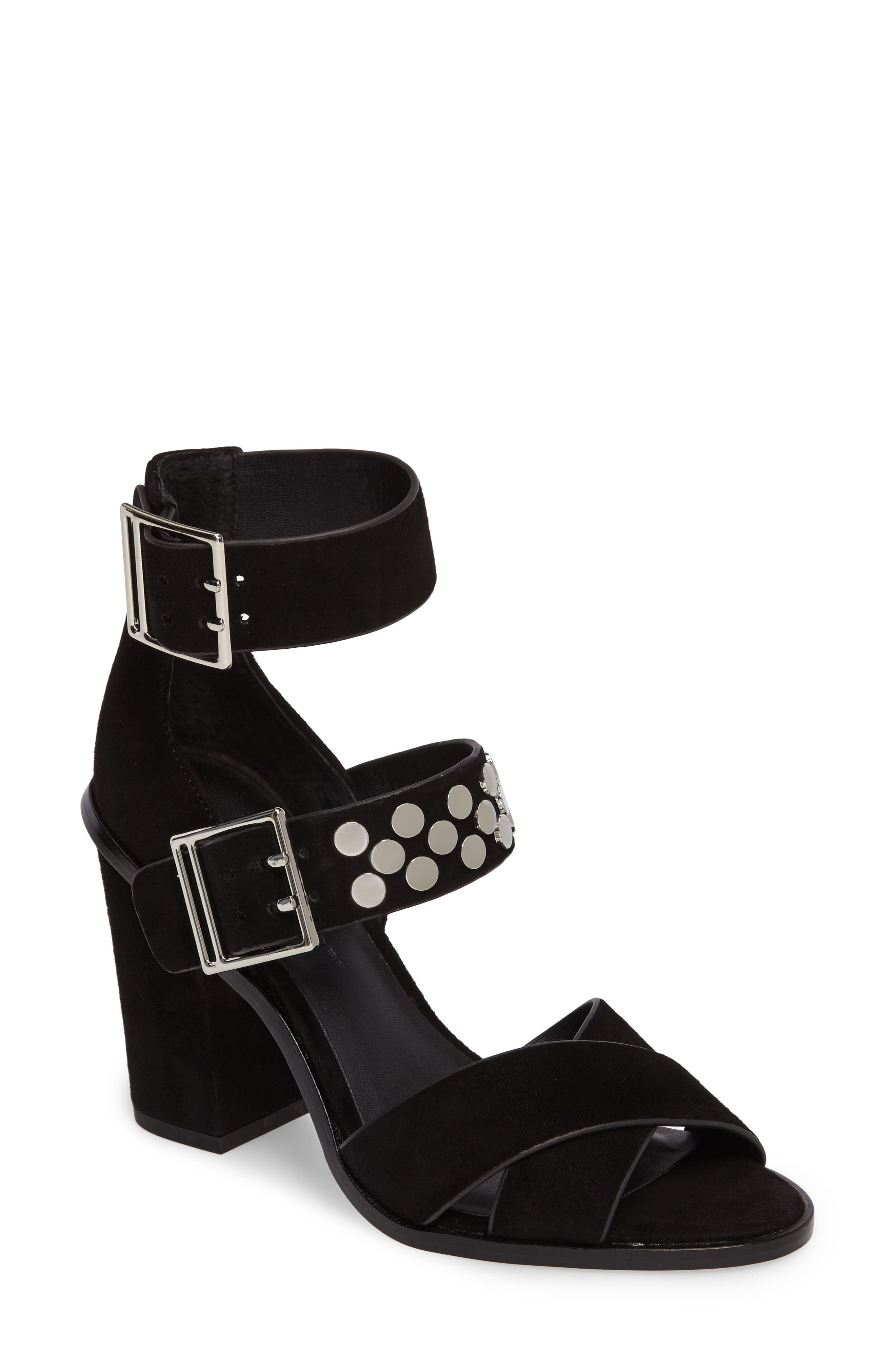 Jennifer Studded Ankle Cuff Sandal,                             Main thumbnail 1, color,                             004