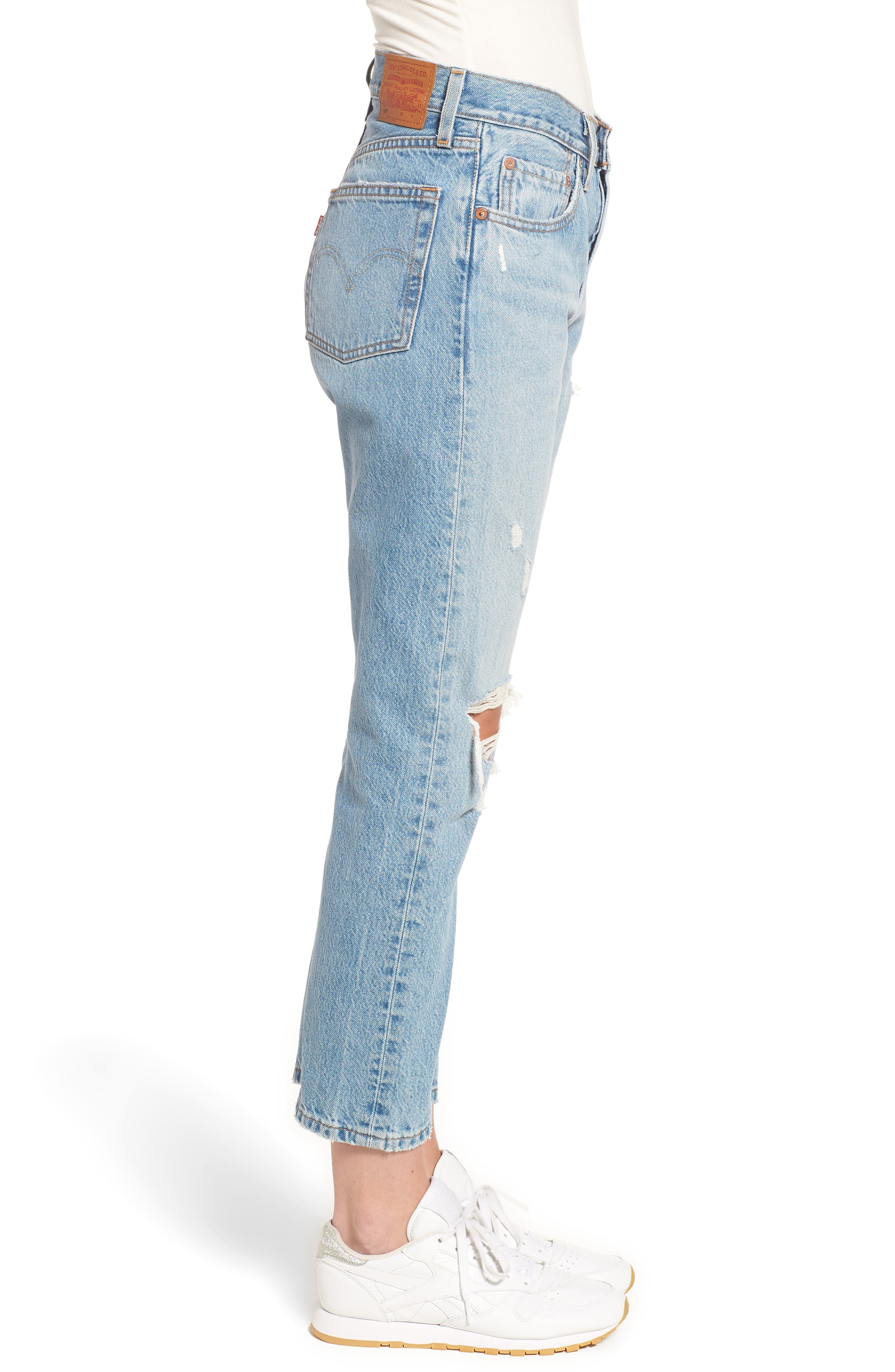 501<sup>®</sup> Ripped High Waist Crop Jeans,                             Alternate thumbnail 3, color,                             420