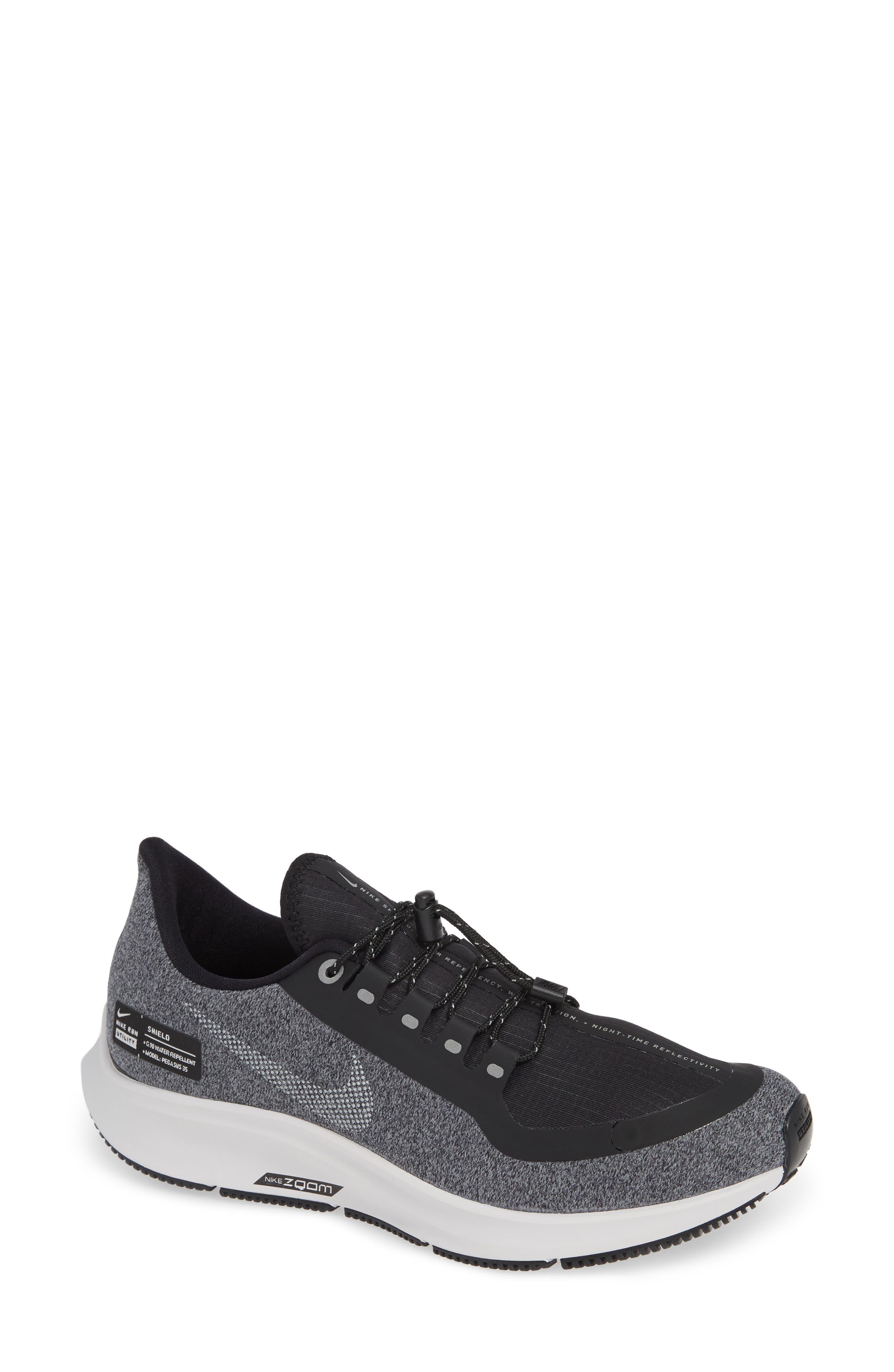 Air Zoom Pegasus 35 Shield GS Water Repellent Running Shoe, Main, color, BLACK/ WHITE-COOL GREY-GREY