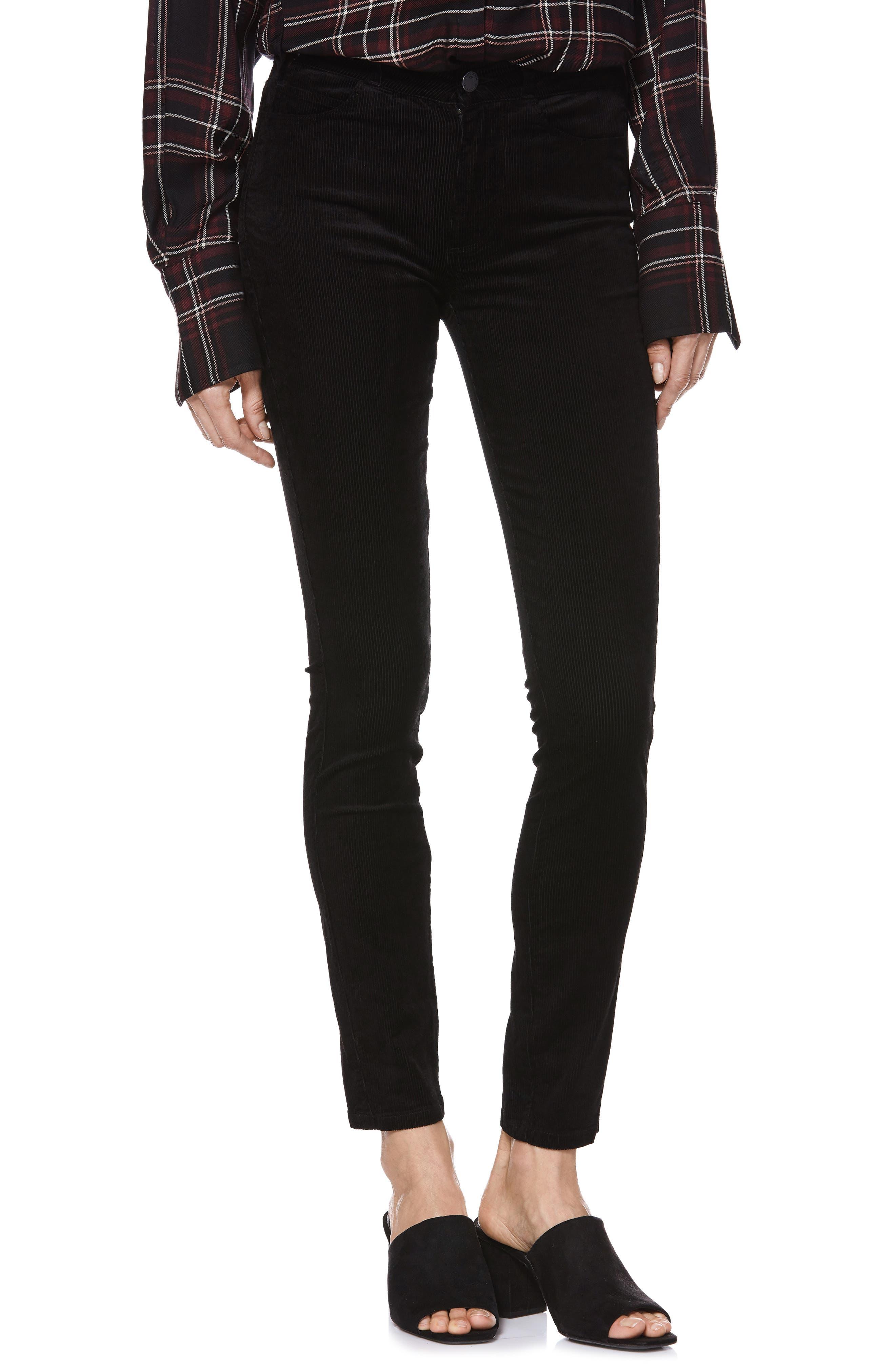 Transcend - Hoxton High Waist Ultra Skinny Jeans,                         Main,                         color, BLACK VELVET CORD