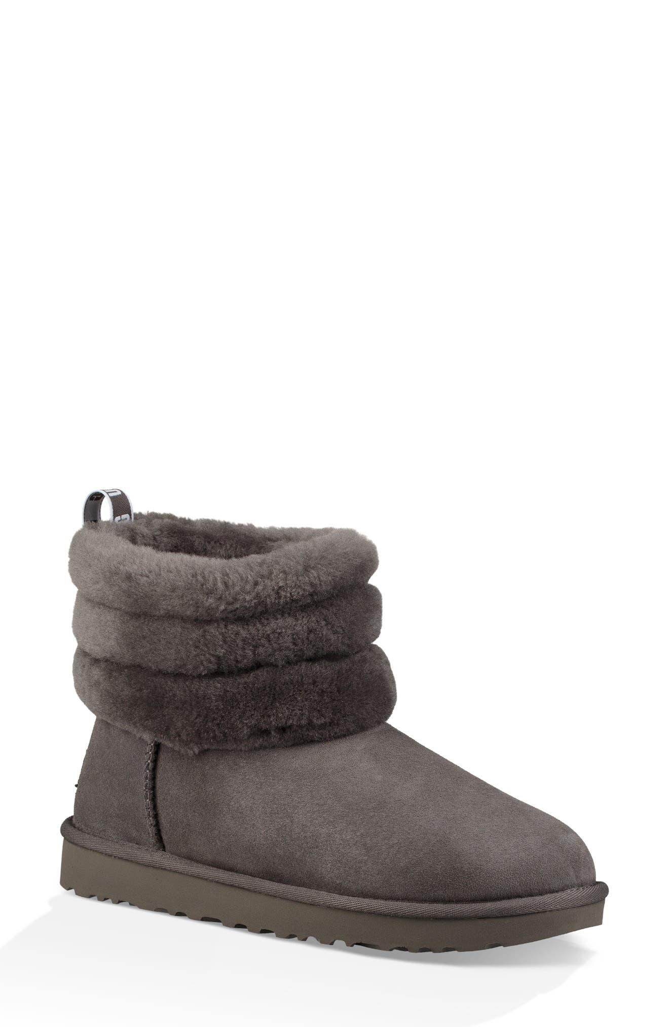 Classic Mini Fluff Quilted Boot,                             Main thumbnail 1, color,                             CHARCOAL SUEDE
