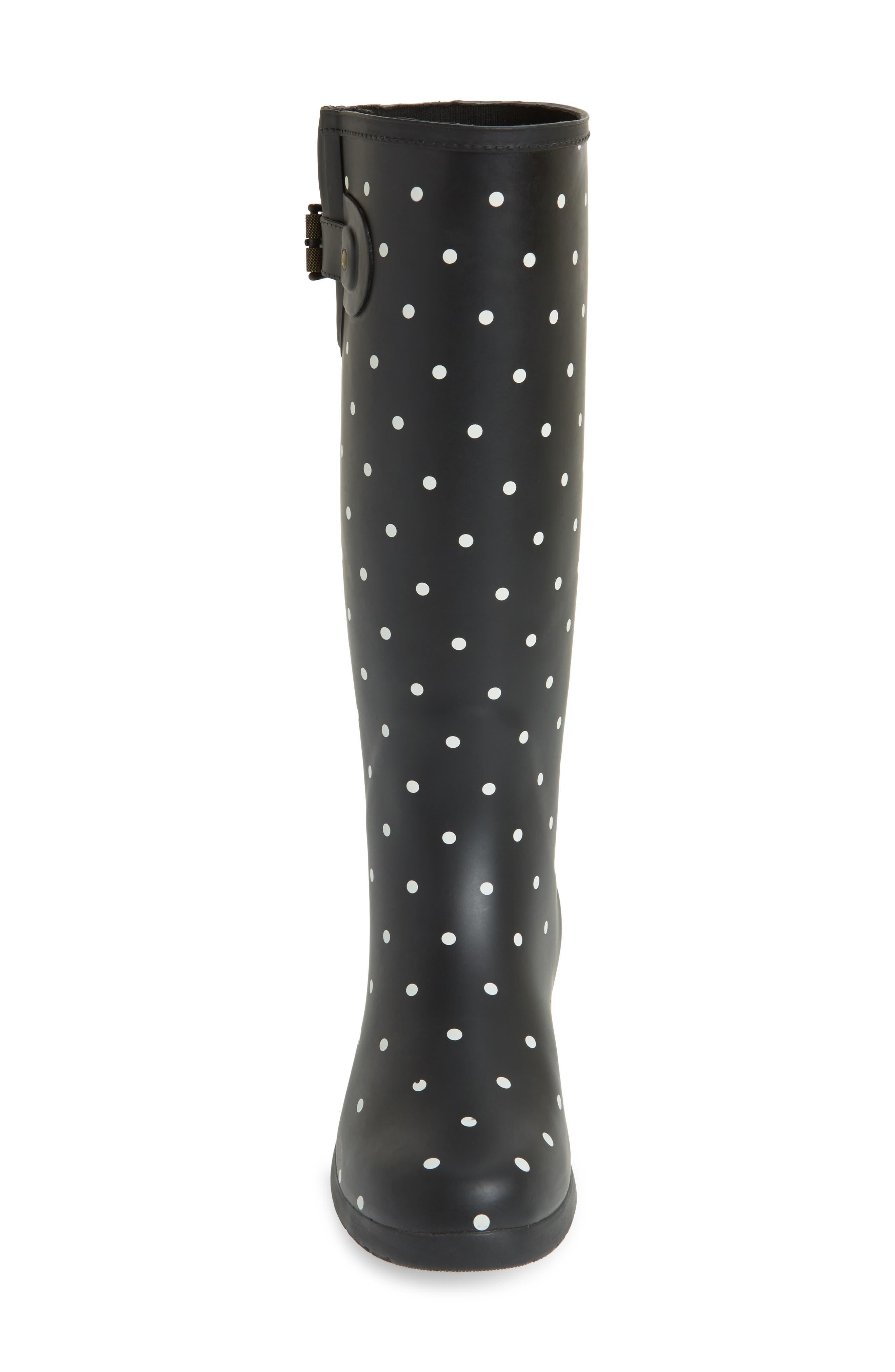 Classic Dot Rain Boot,                             Alternate thumbnail 4, color,                             BLACK