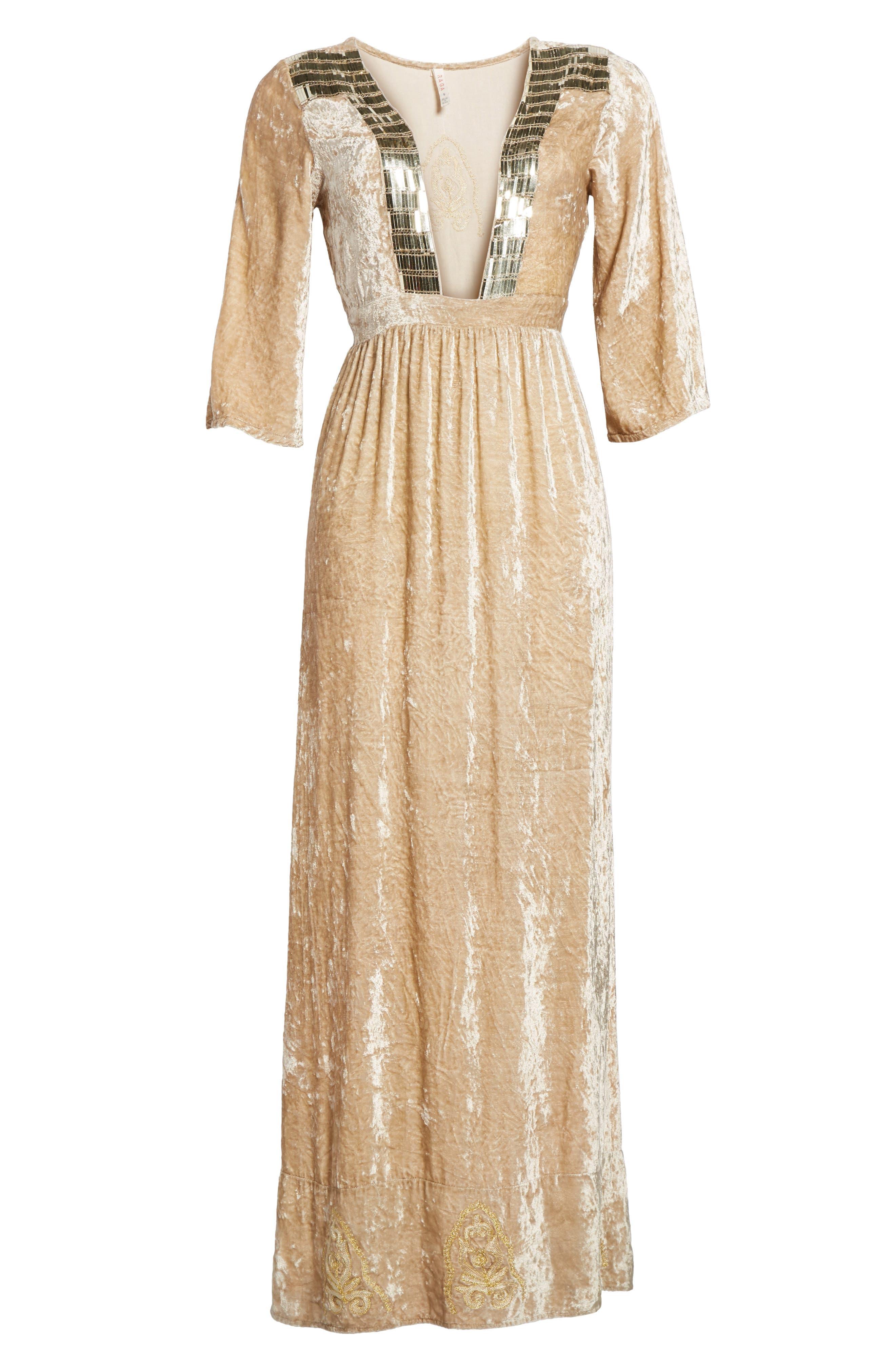 Romantic Visions Velvet Maxi Dress,                             Alternate thumbnail 6, color,