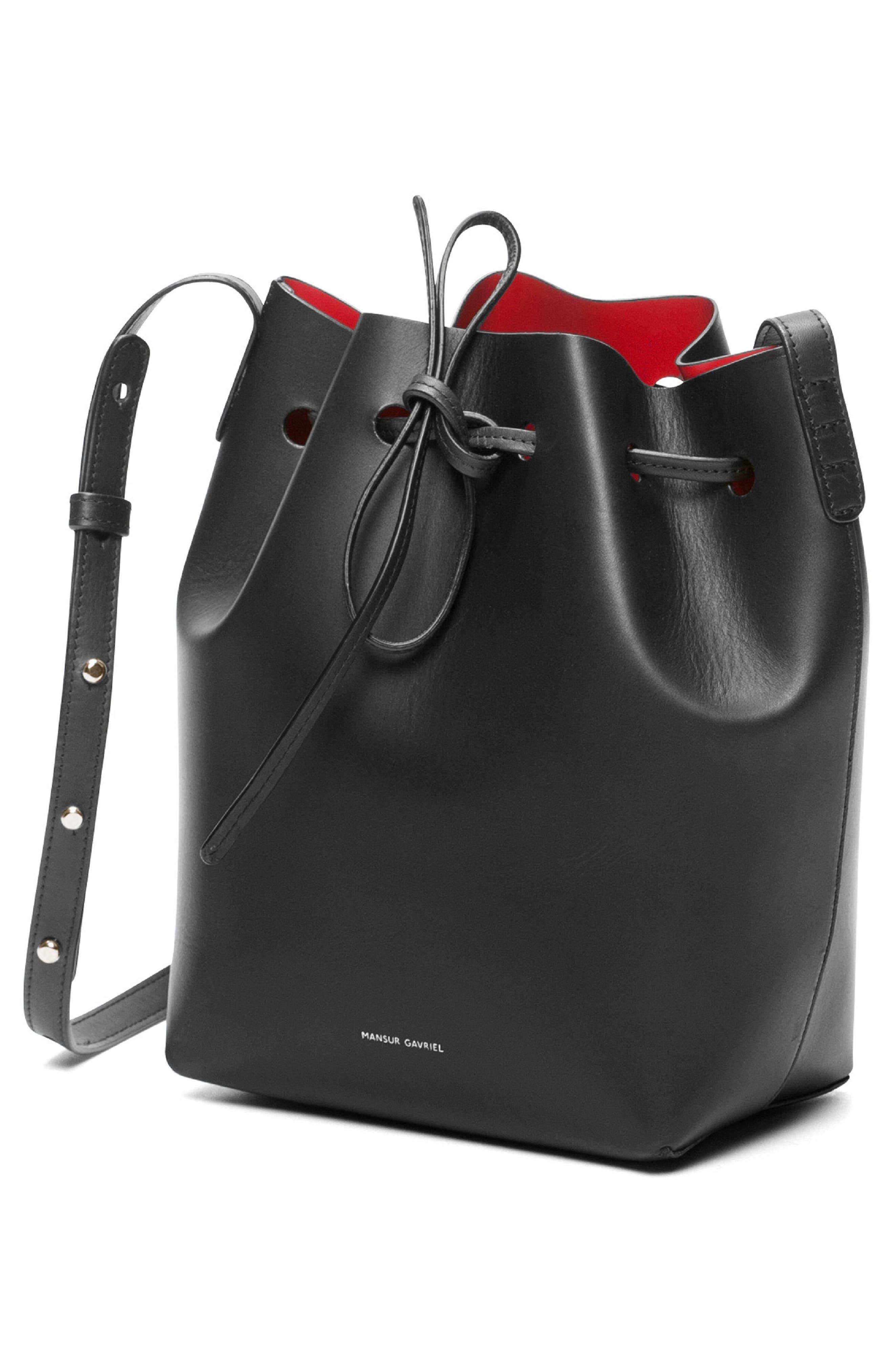 Mini Leather Bucket Bag,                             Alternate thumbnail 3, color,                             BLACK/ FLAMMA