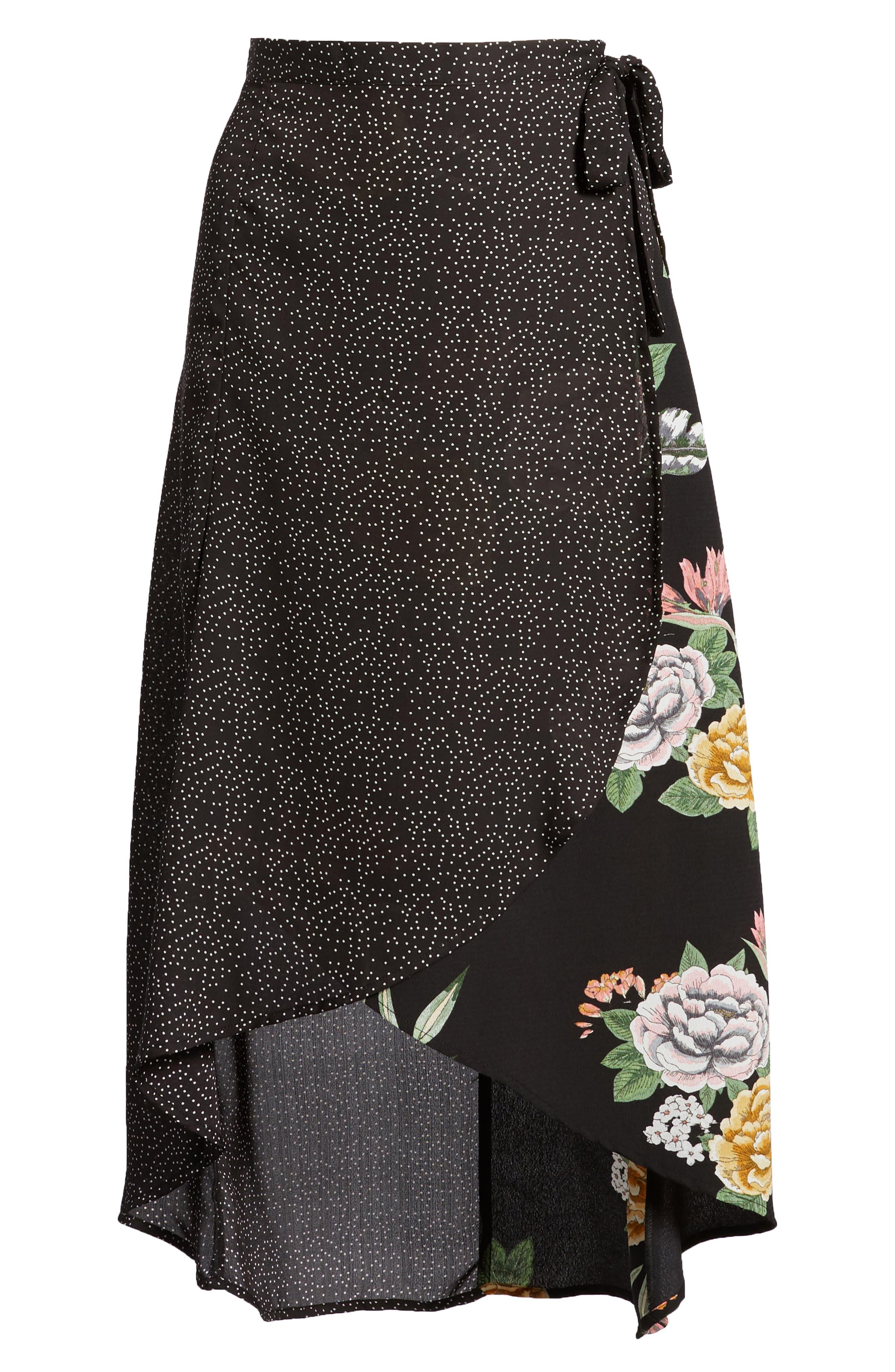 Bishop + Young Enchanted Garden Mix Media Skirt,                             Alternate thumbnail 6, color,                             ENCHANTED GARDEN PRINT