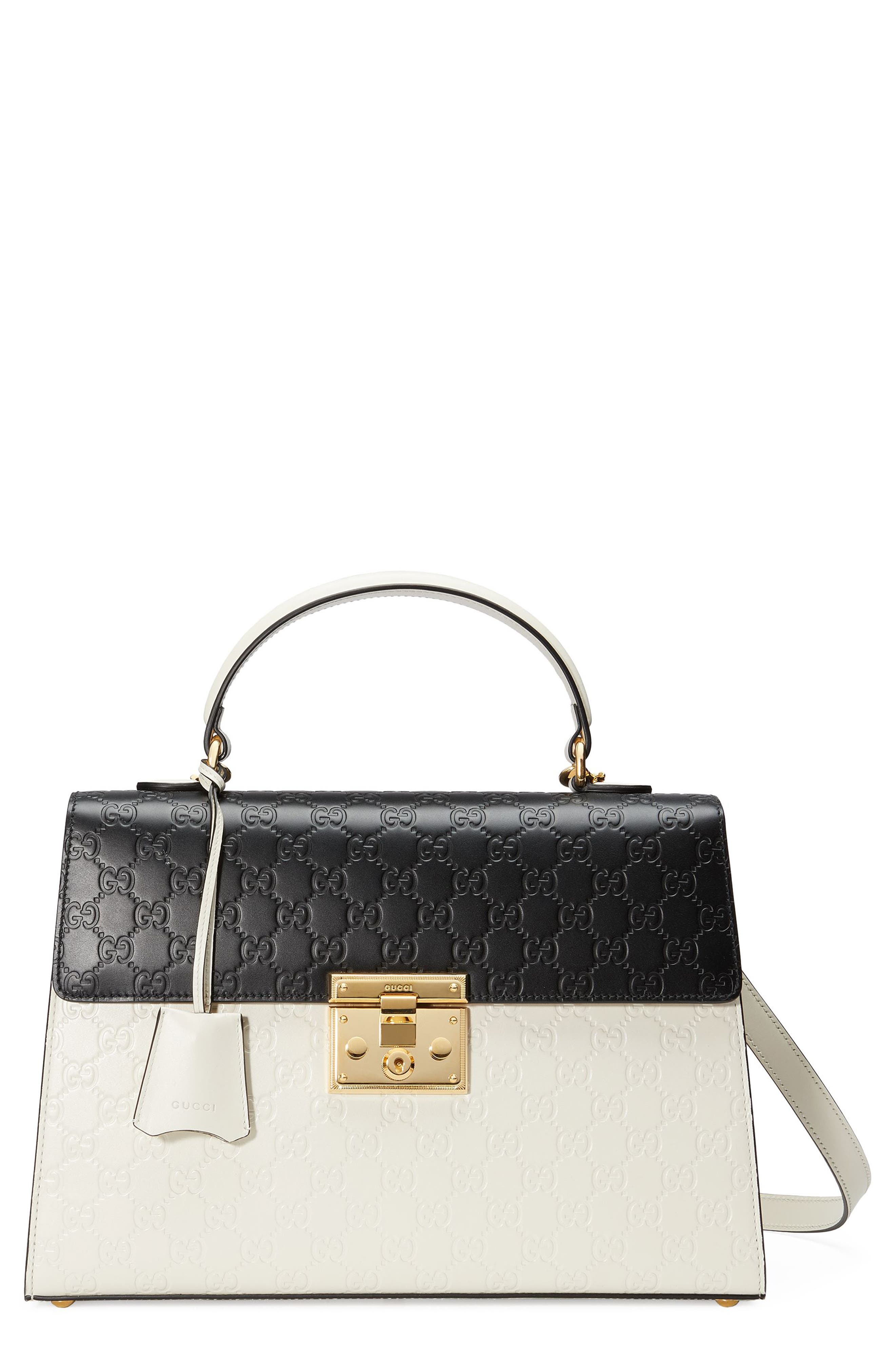 Medium Padlock Top Handles Signature Leather Satchel,                         Main,                         color, MYSTIC WHITE/NERO