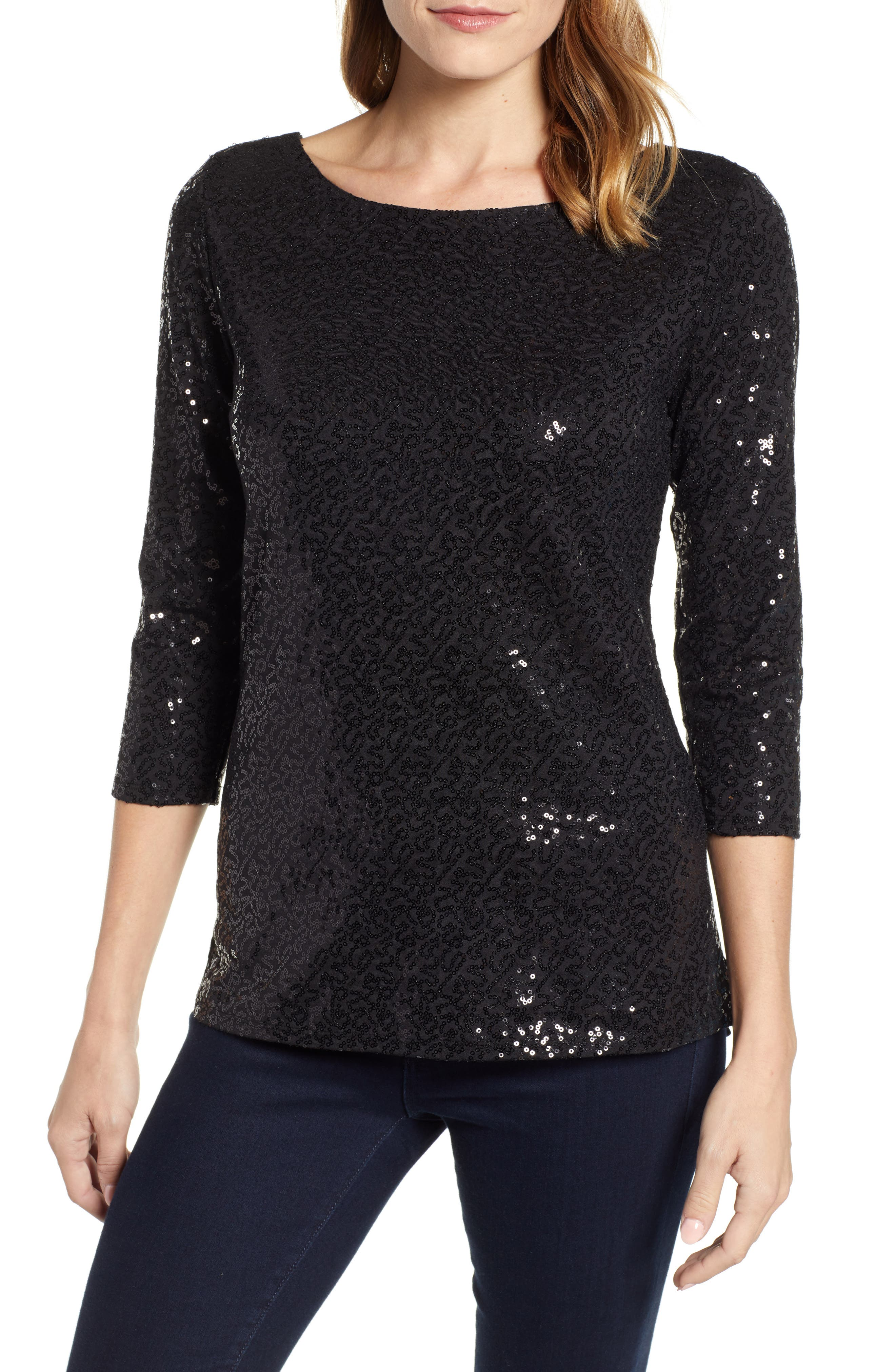 GIBSON,                             x Glam Squad Megan Sequin Embellished Scoop Back Top,                             Main thumbnail 1, color,                             001