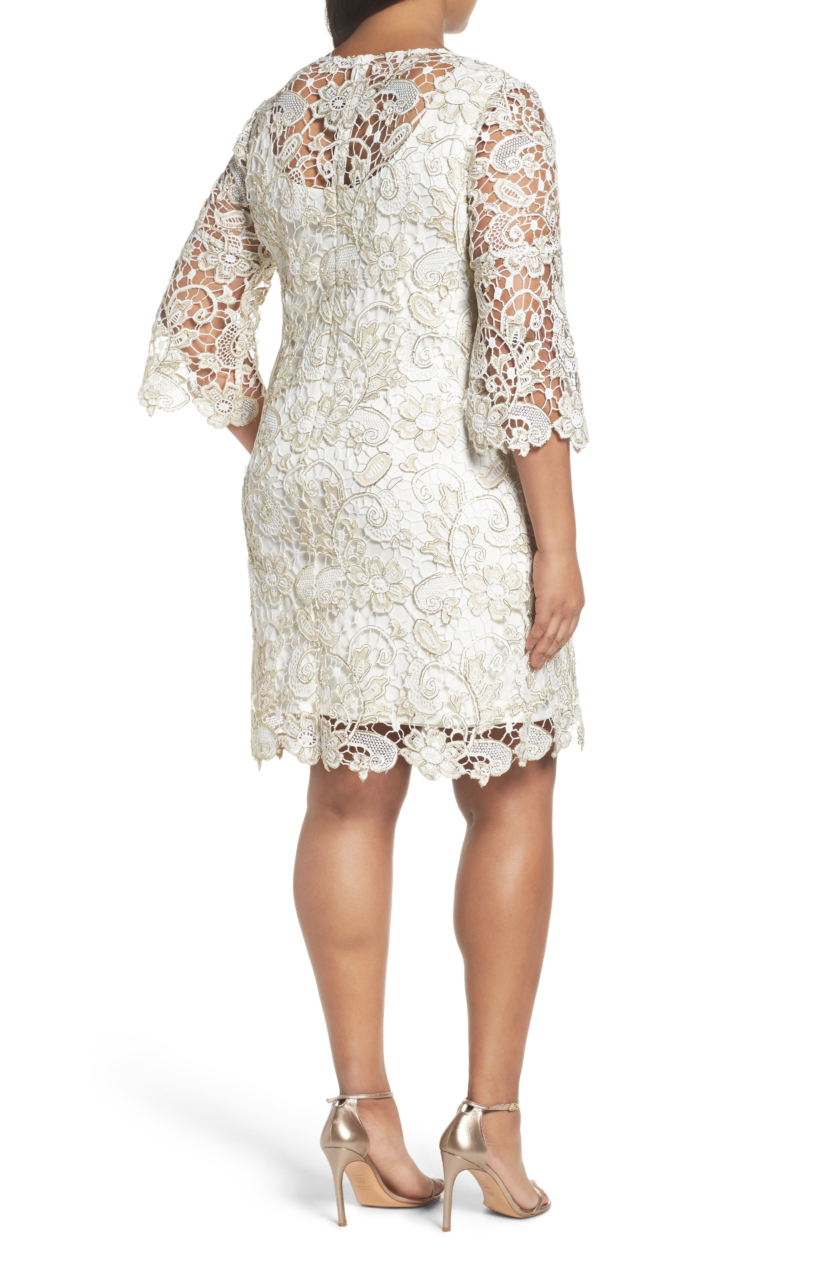 Bell Sleeve Lace Shift Dress,                             Alternate thumbnail 4, color,