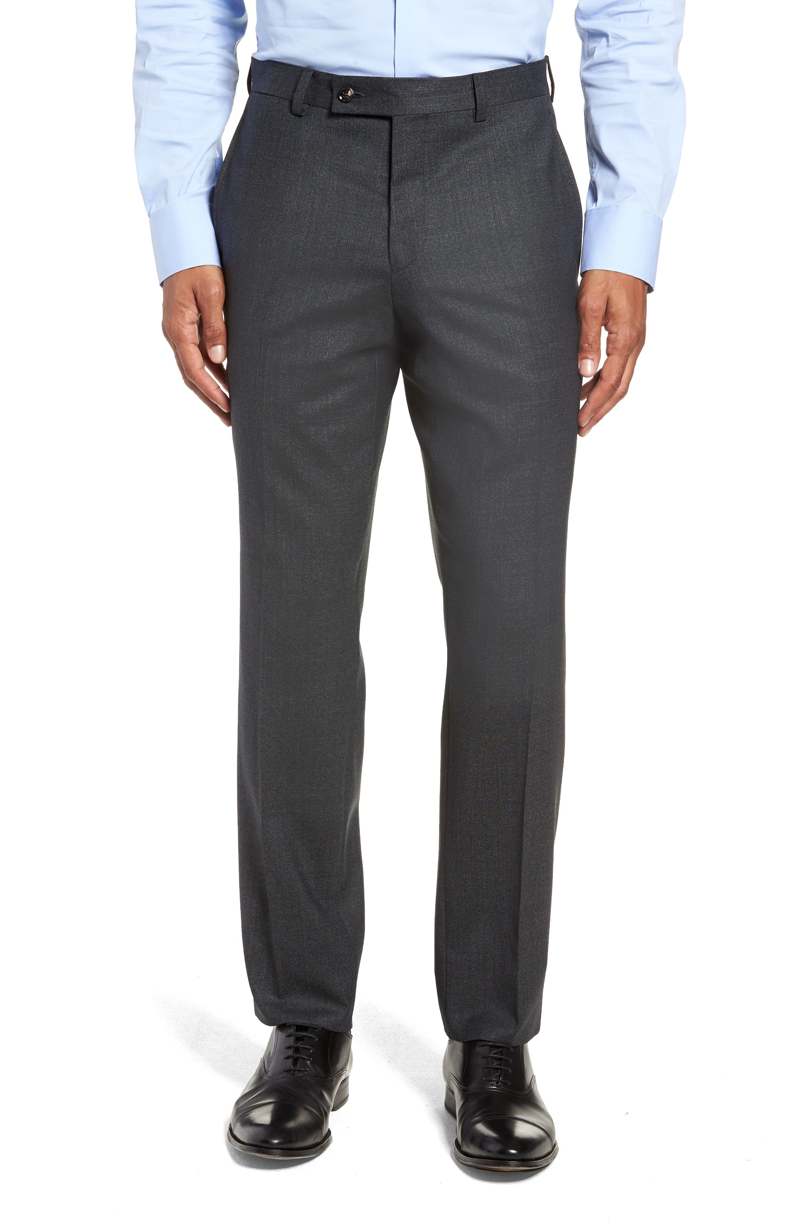 Jefferson Flat Front Solid Wool Trousers,                             Main thumbnail 1, color,                             GREY